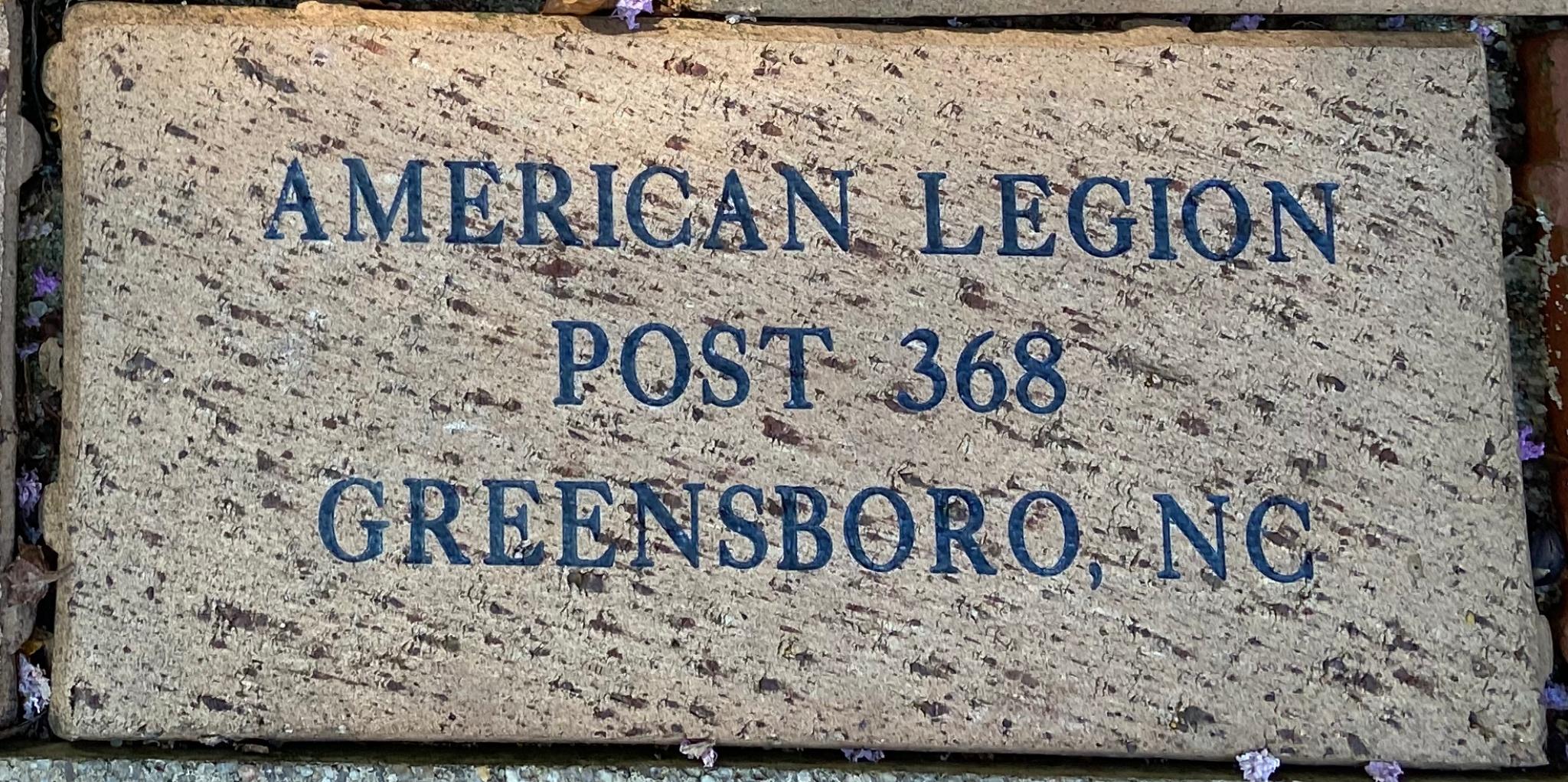 AMERICAN LEGION POST 368 GREENSBORO, NC