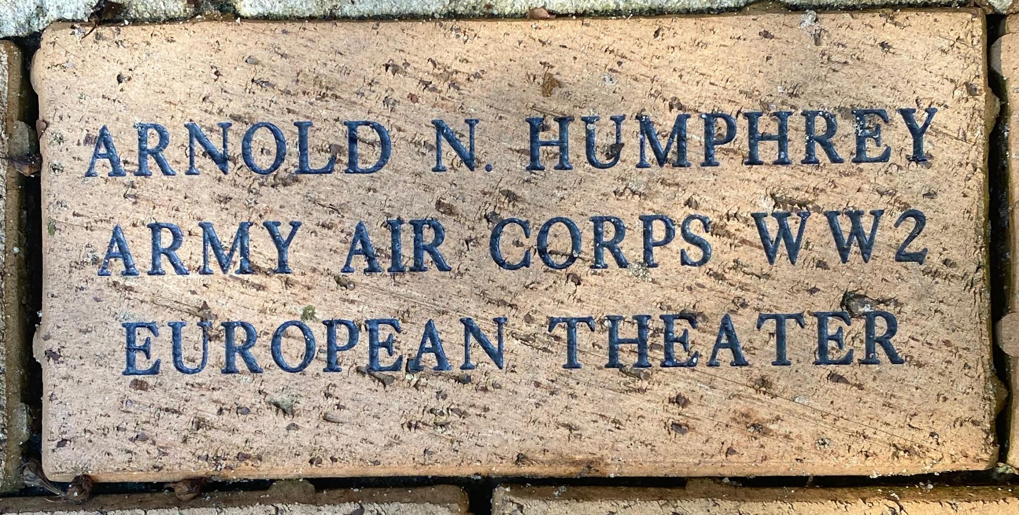ARNOLD N. HUMPHREY ARMY AIR CORPS WW2 EUROPEAN THEATER
