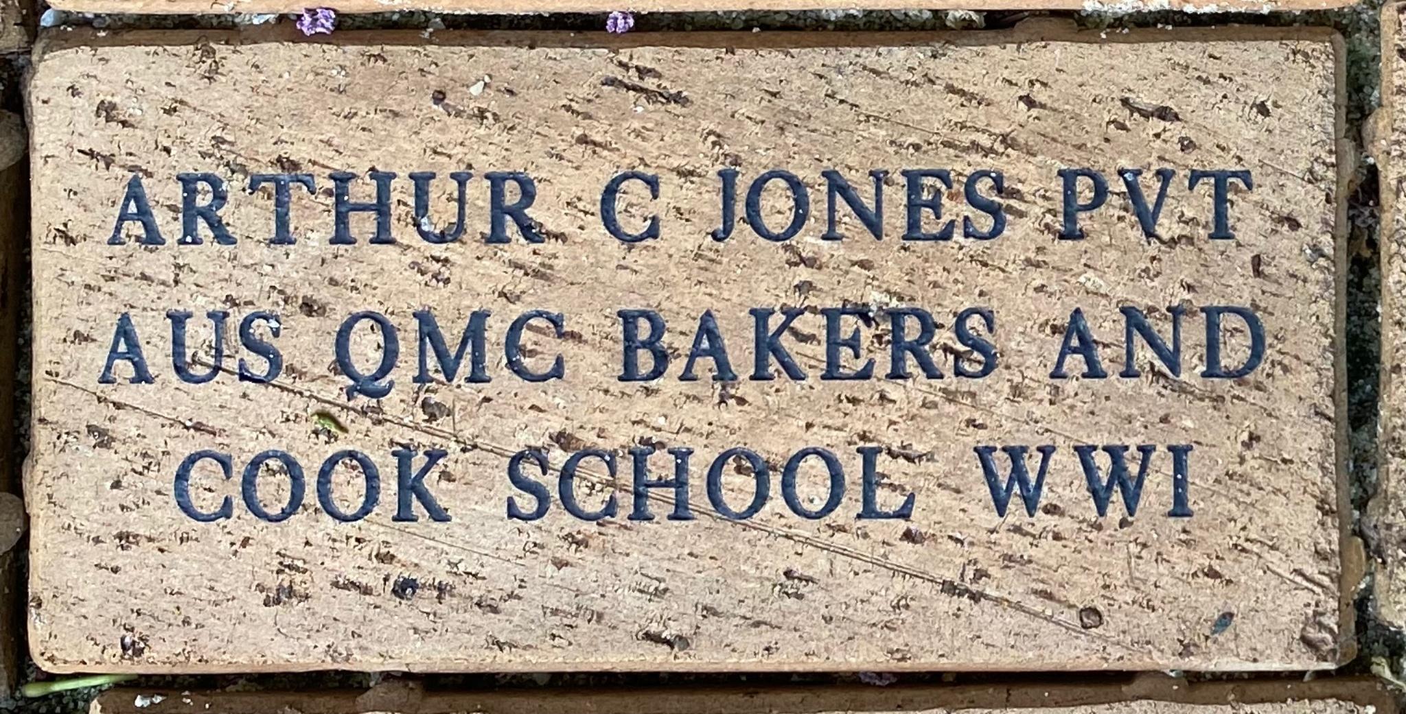 ARTHUR C JONES PVT A US QMC BAKERS AND COOK SCHOOL WWI