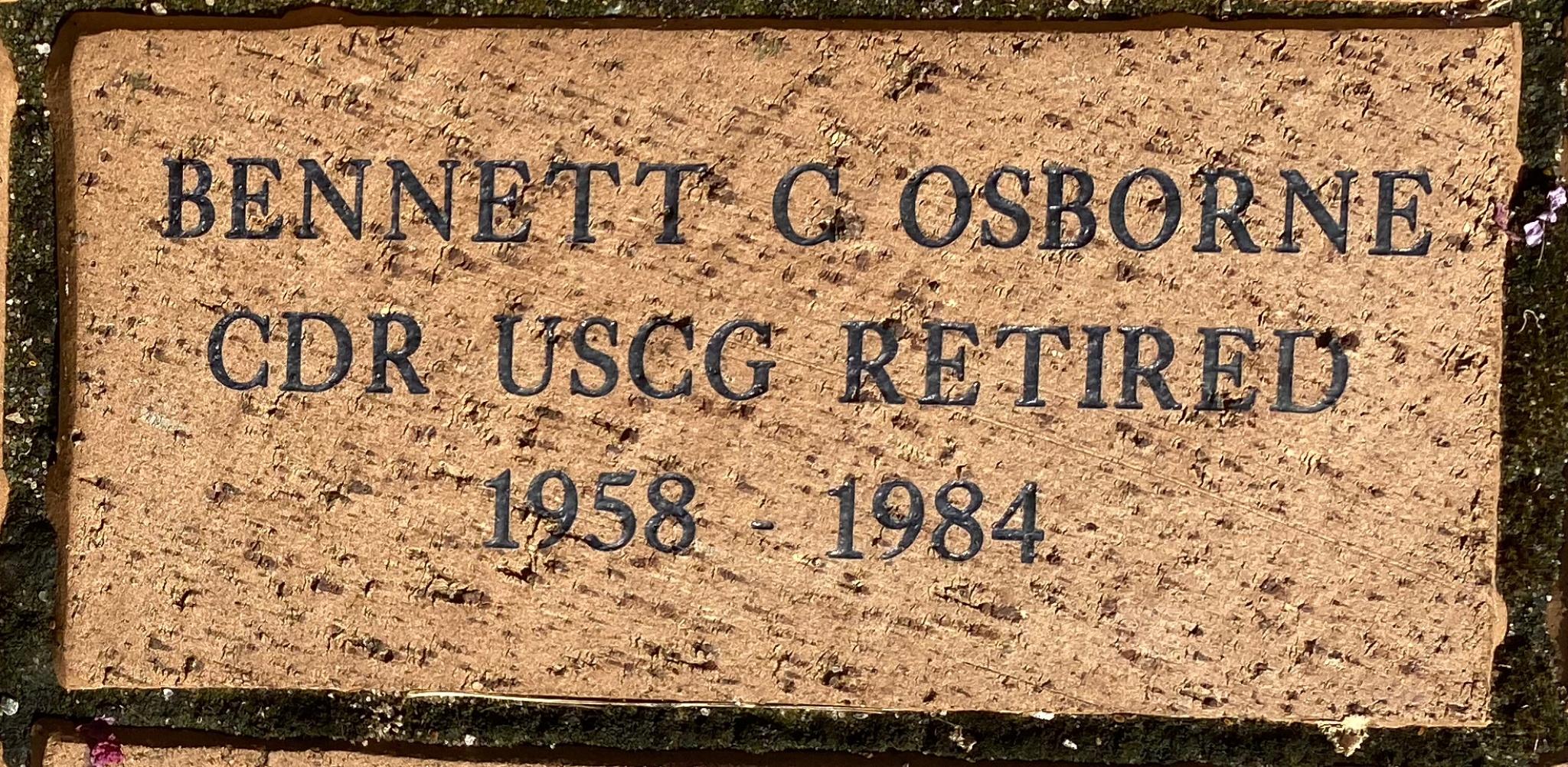 BENNETT C OSBORNE CDR USCG RETIRED 1958 – 1984