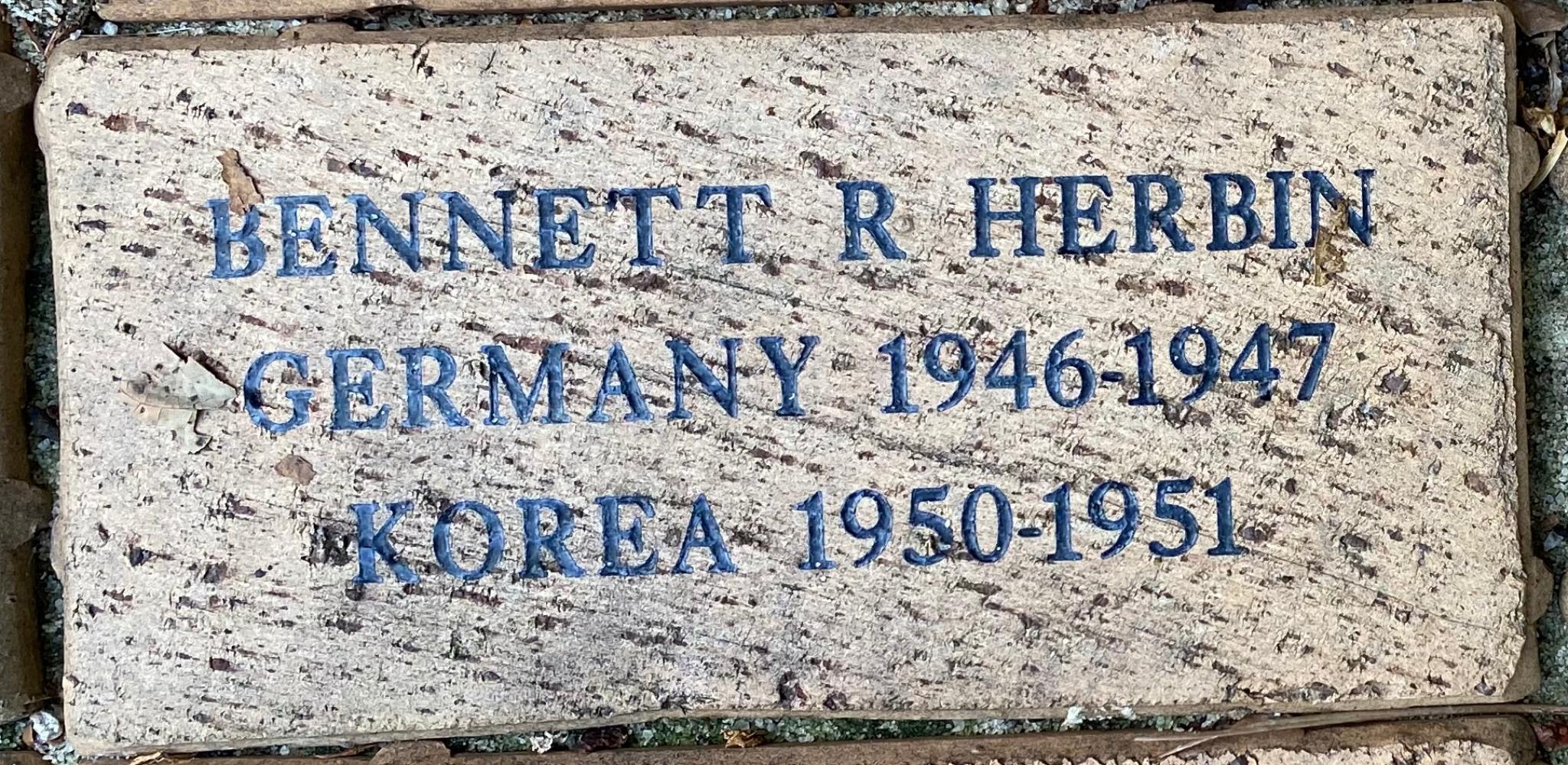 BENNETT R. HERBIN GERMANY 1946-1947 KOREA 1950-1951