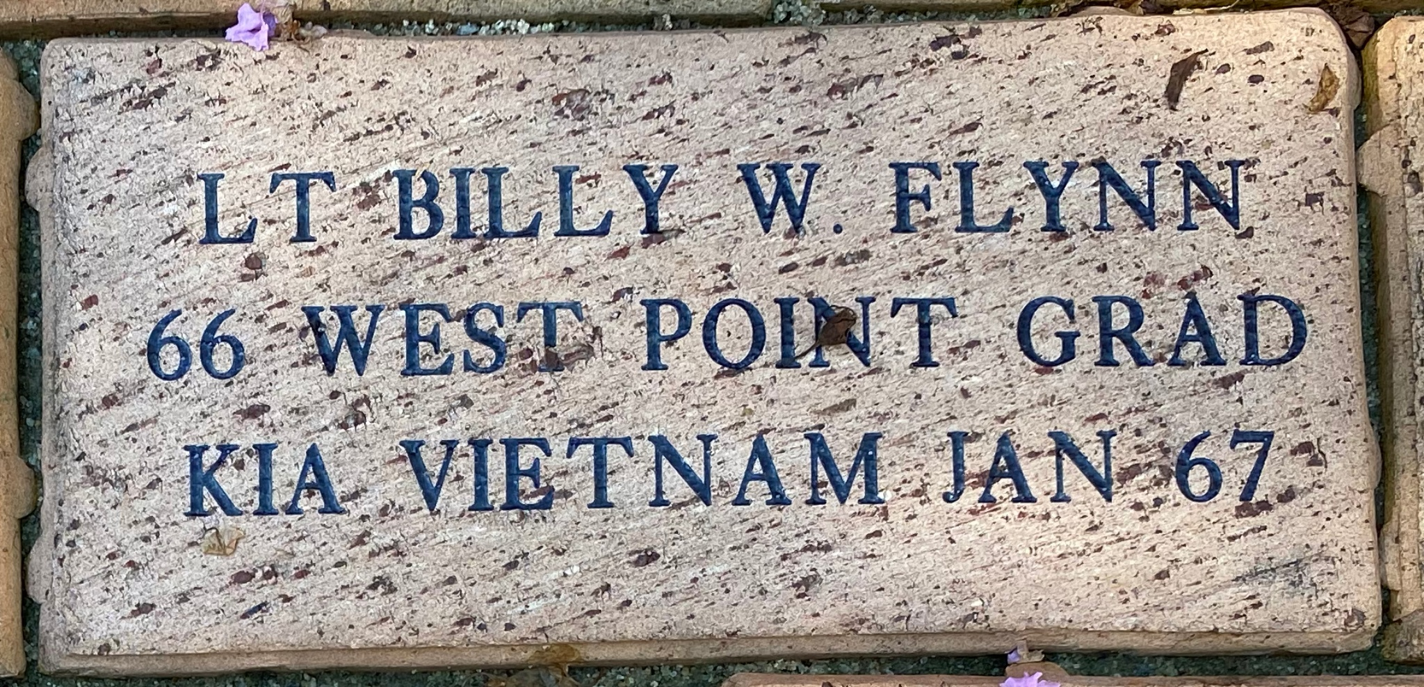 LT. BILLY W. FLYNN 66 WEST POINT GRAD KIA VIETNAM JAN 67