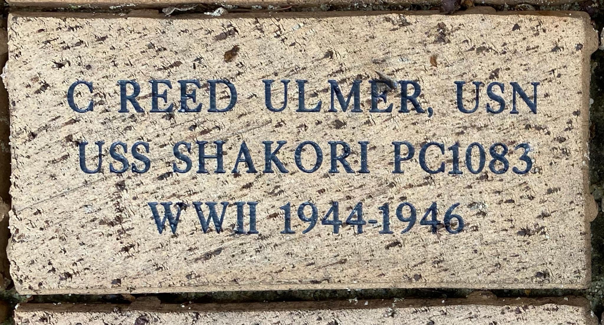 C. REED ULMER, USN USS SHAKORI PC1083 WWII 1944-1946