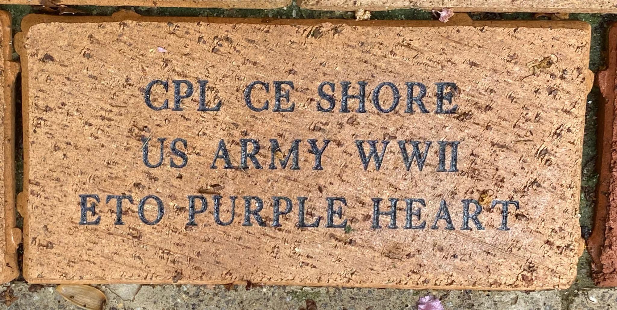 CPL CE SHORE US ARMY WWII ETO PURPLE HEART