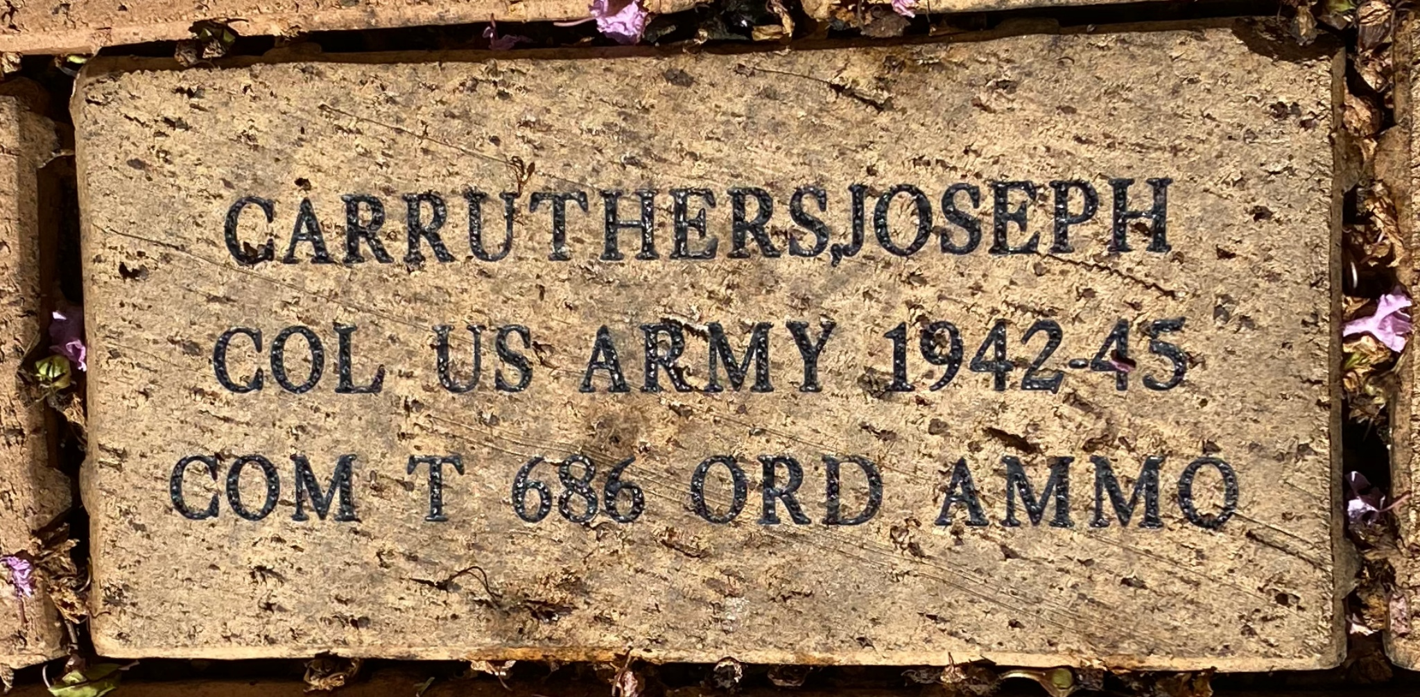 CARRUTHERS, JOSEPH COL US ARMY 1942-45 COM T 686 ORD AMMO