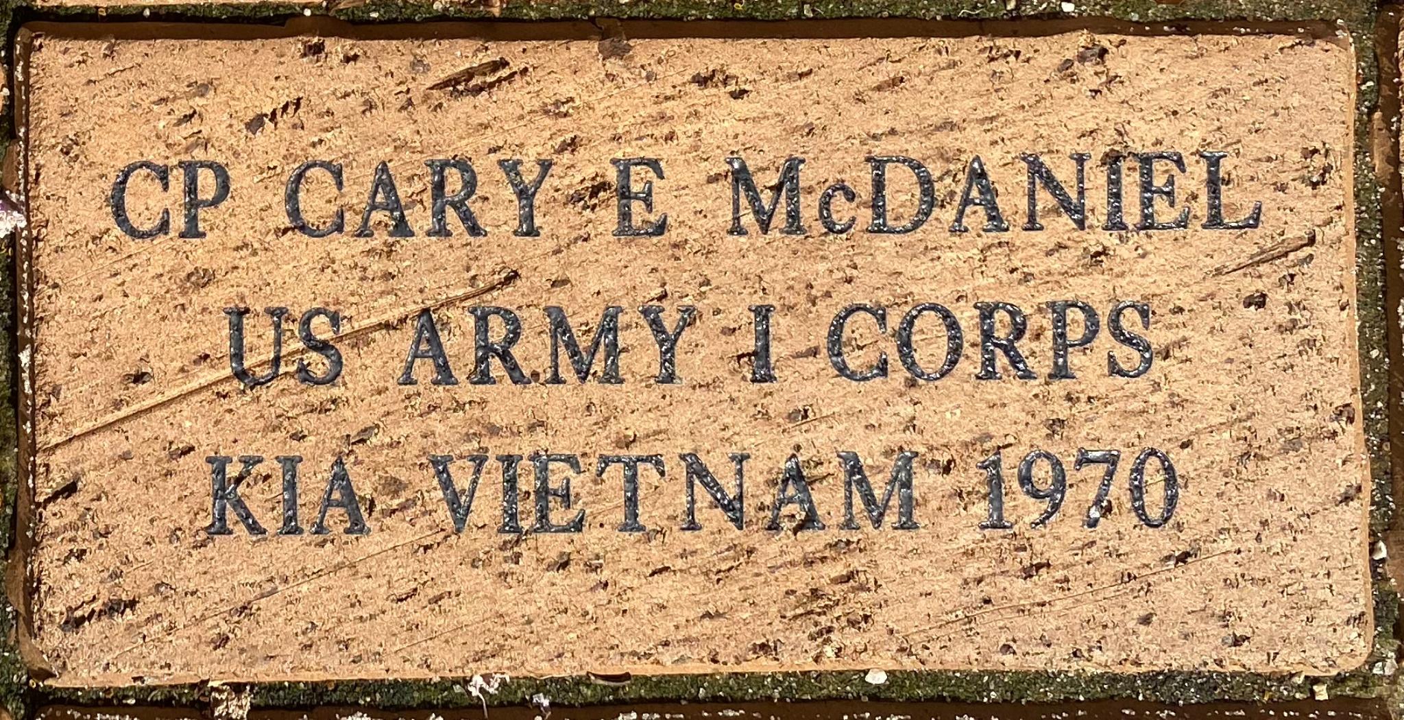 CP CARY E McDANIEL US ARMY I CORPS KIA VIETNAM 1970