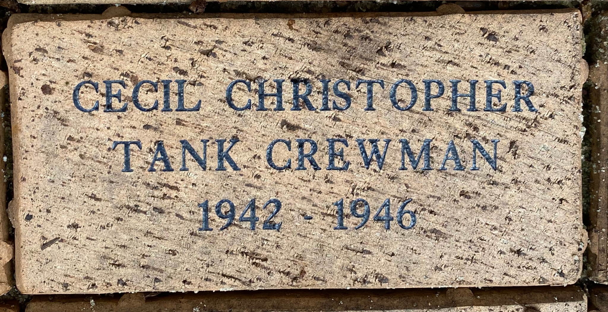 CECIL CHRISTOPHER TANK CREWMAN 1942 – 1946
