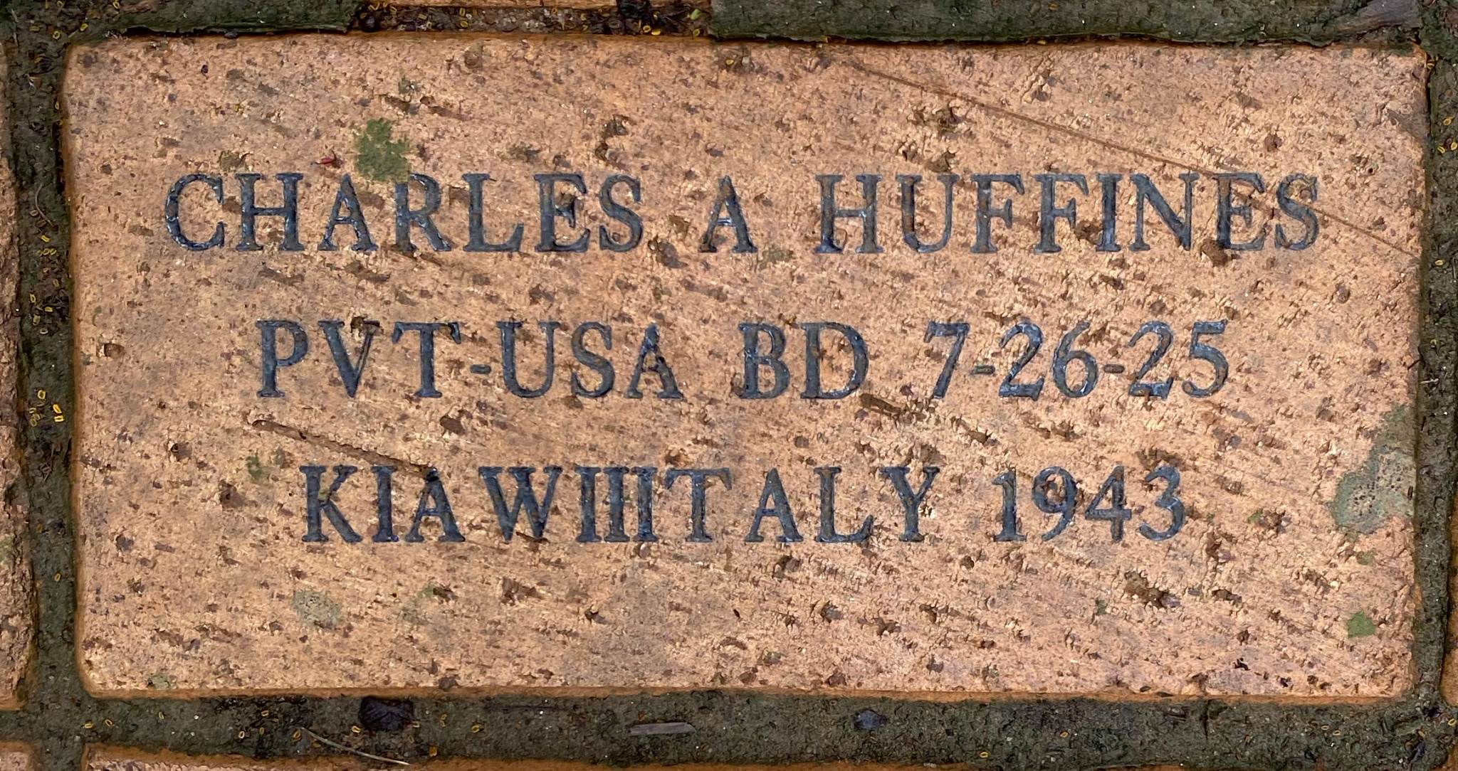 CHARLES A HUFFINES PVT-USA BD 7-26-25 KIA WIIITALY 1943