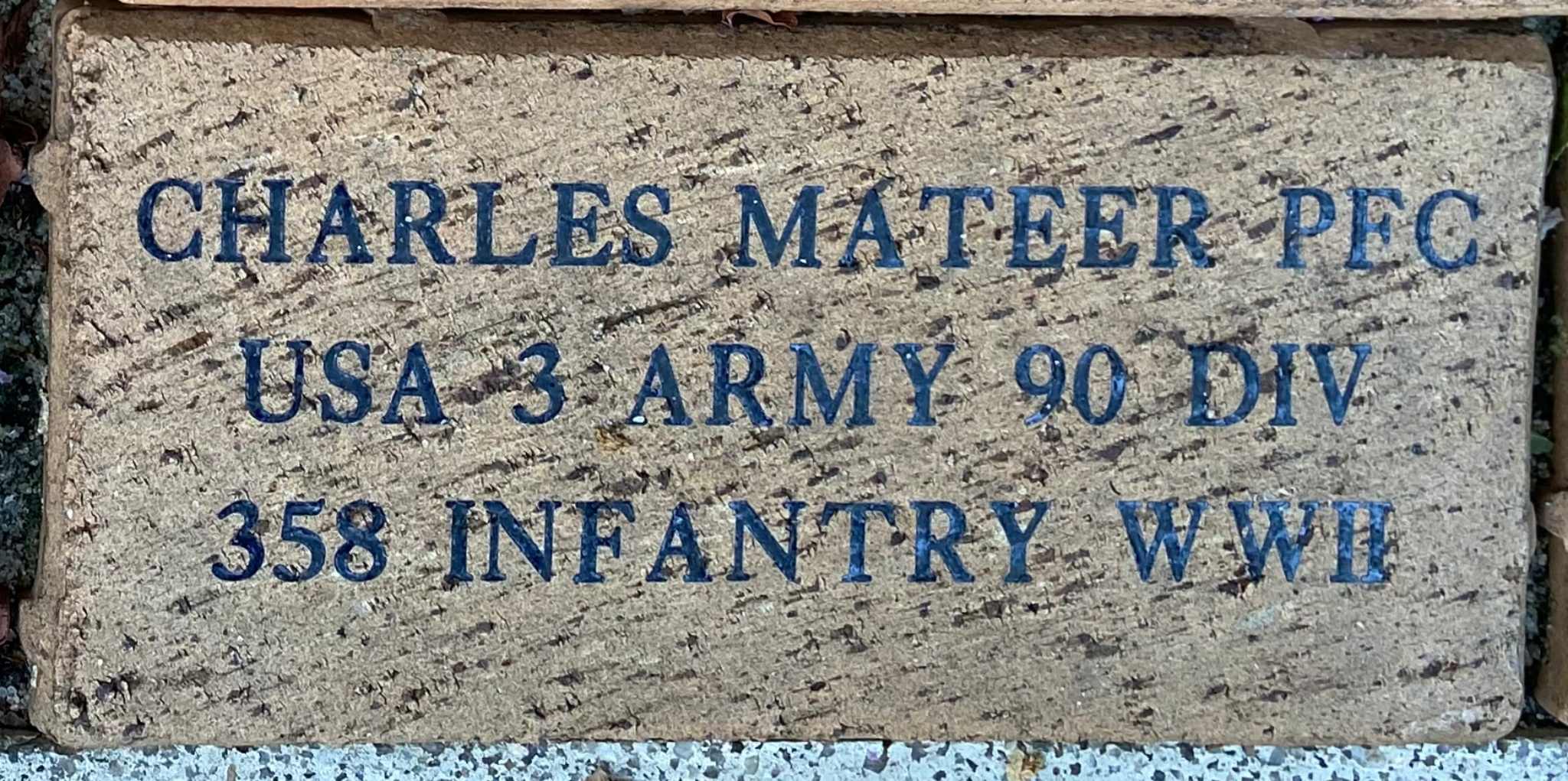 CHARLES MATEER PFC USA 3 ARMY 90 DIV 358 INFANTRY WWII
