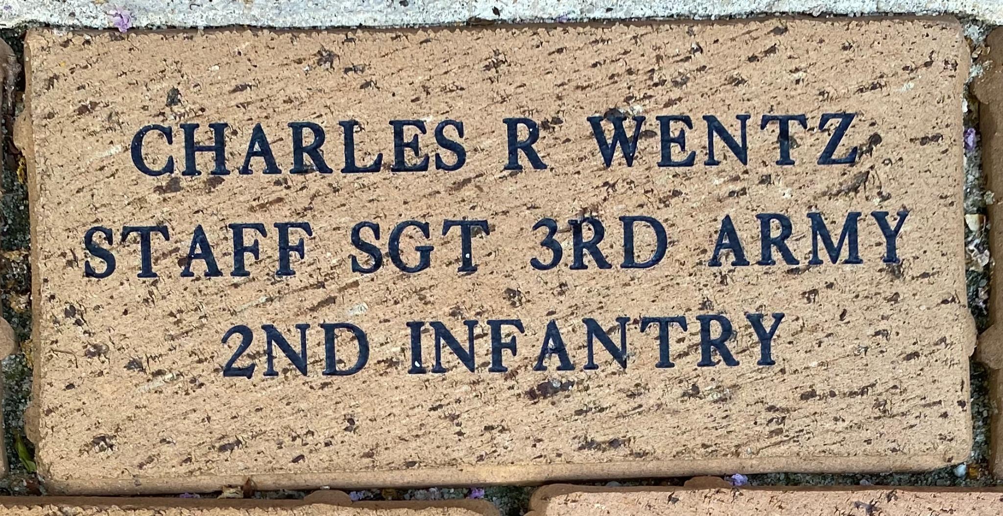 CHARLES R WENTZ STAFF SGT 3RD ARMY 2ND INFANTRY
