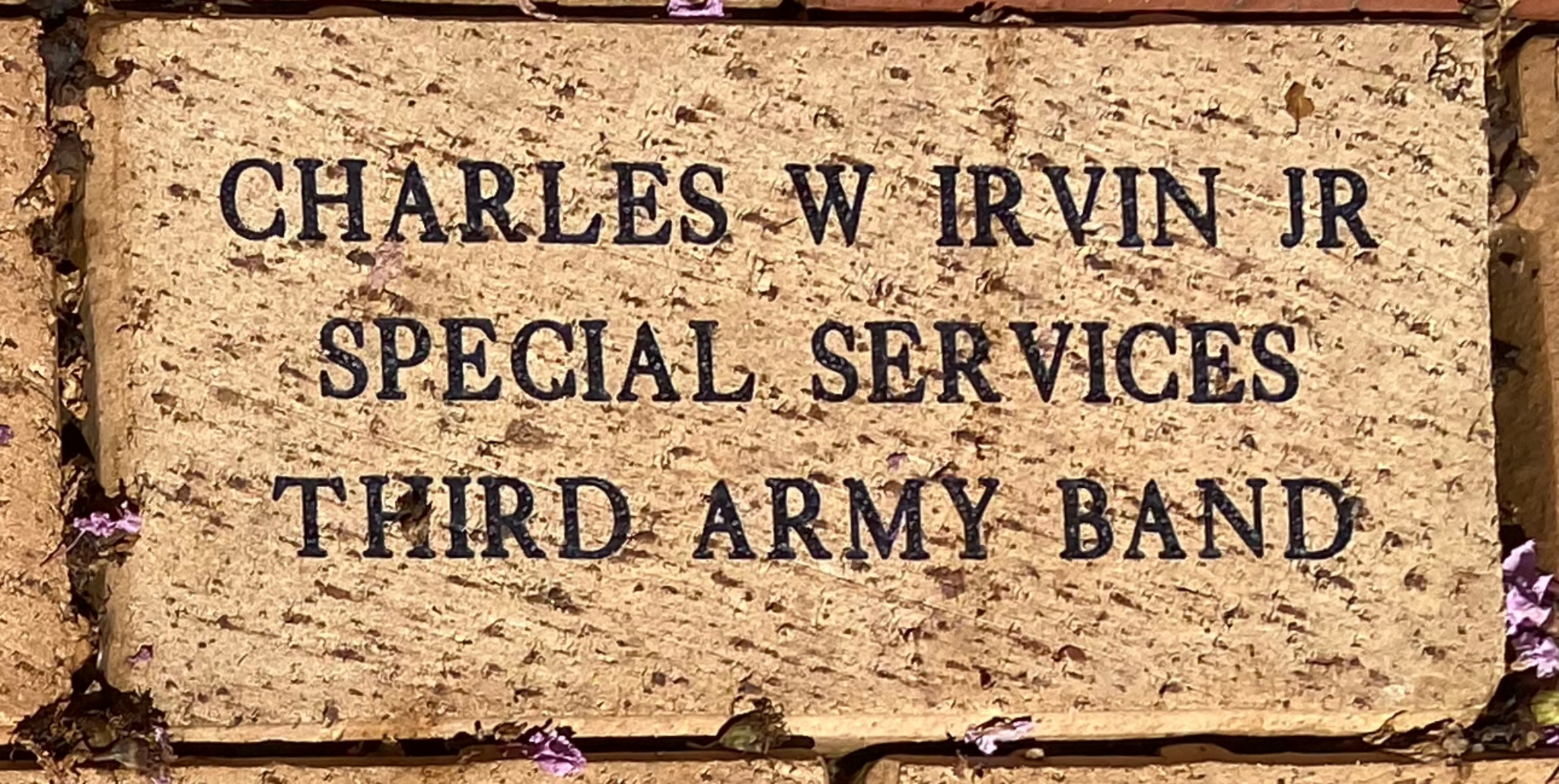 CHARLES W IRVIN JR SPECIAL SERVICES THIRD ARMY BAND