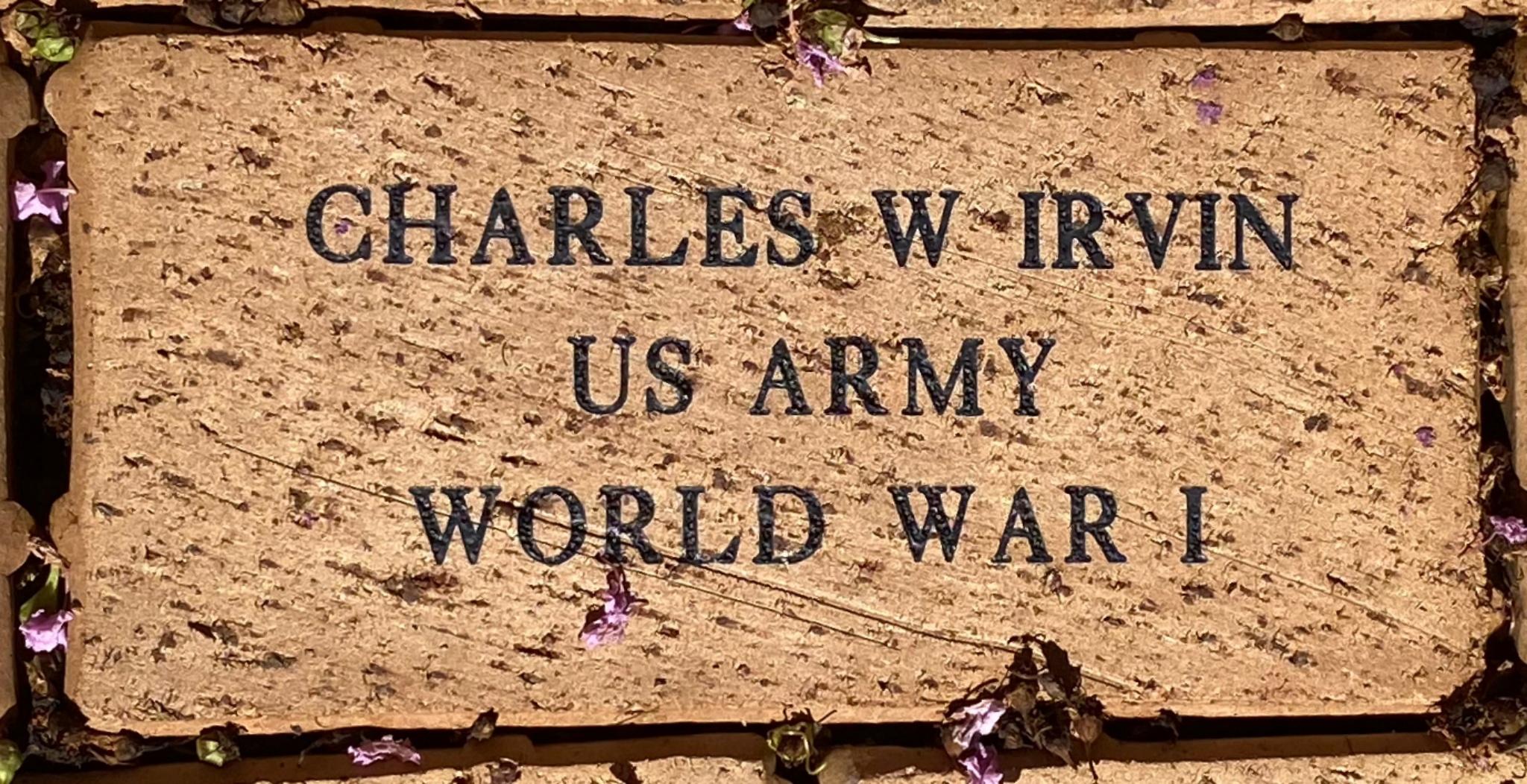 CHARLES W IRVIN US ARMY WORLD WAR I