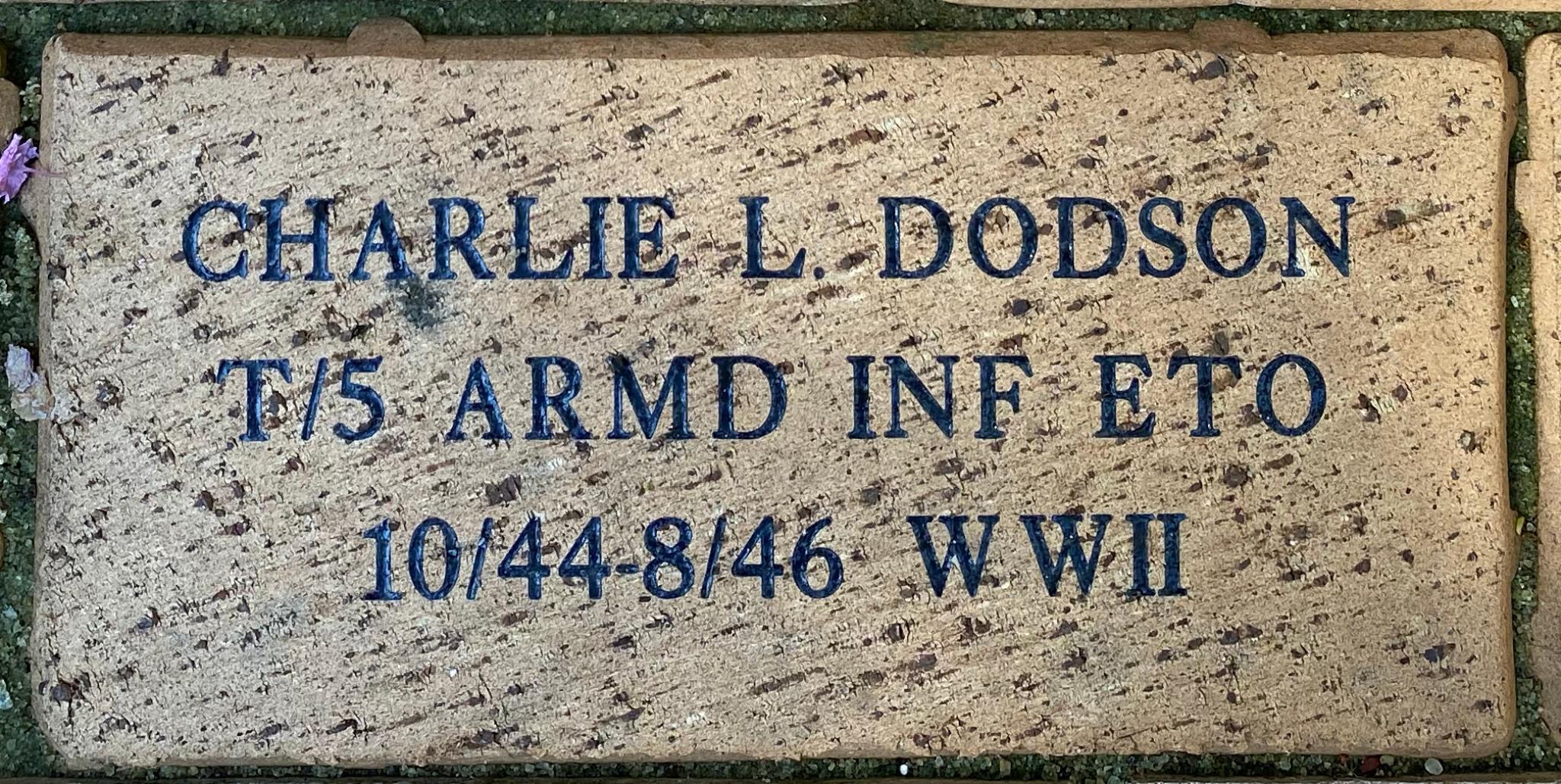 CHARLIE LEE DODSON T/5 ARMD INF ETO 10/44-8/46 WWII