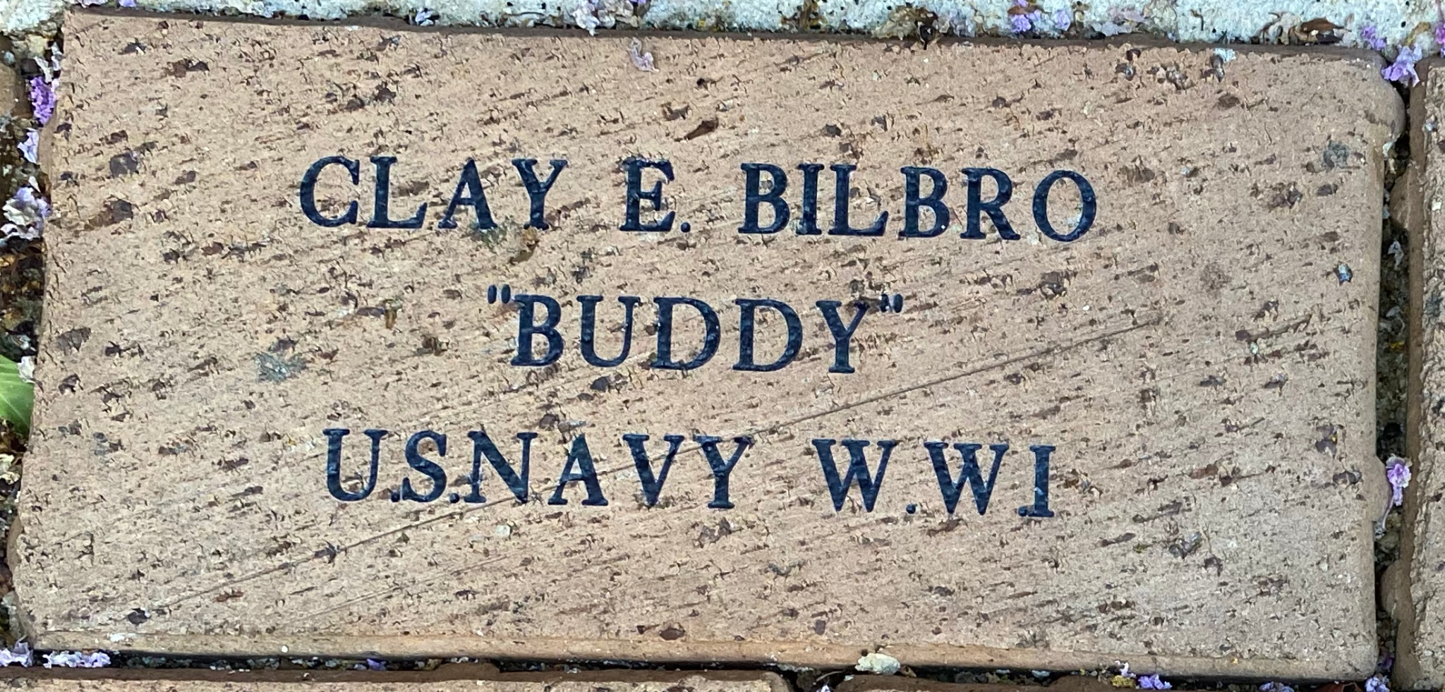 """CLAY E. BILBRO """"BUDDY"""" U.S.NAVY W.W I"""