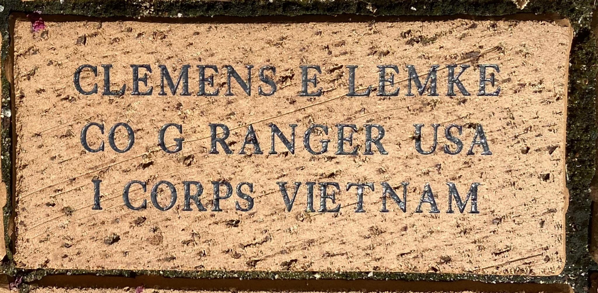 CLEMENS E LEMKE CO G RANGER USA I CORPS VIETNAM