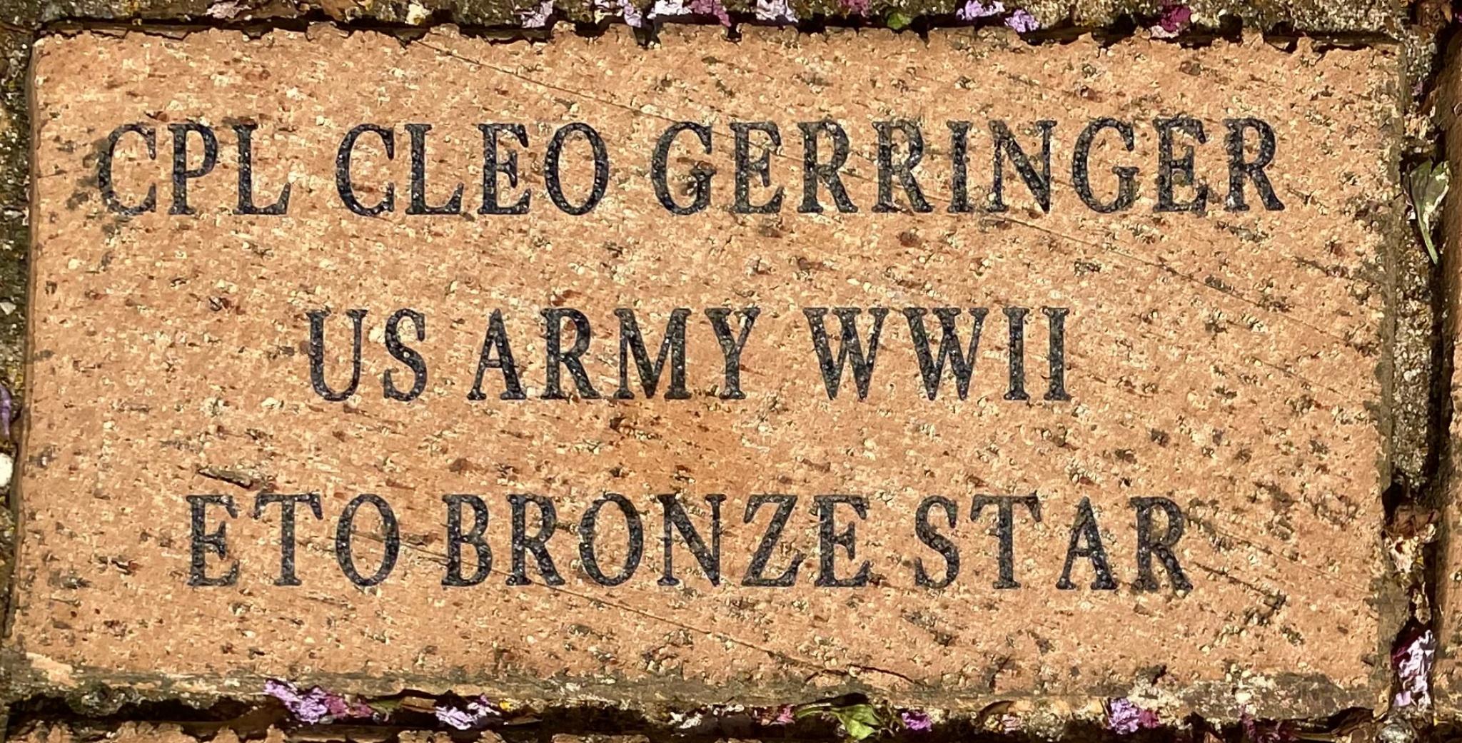 CPL CLEO GERRINGER US ARMY WWII ETO BRONZE STAR