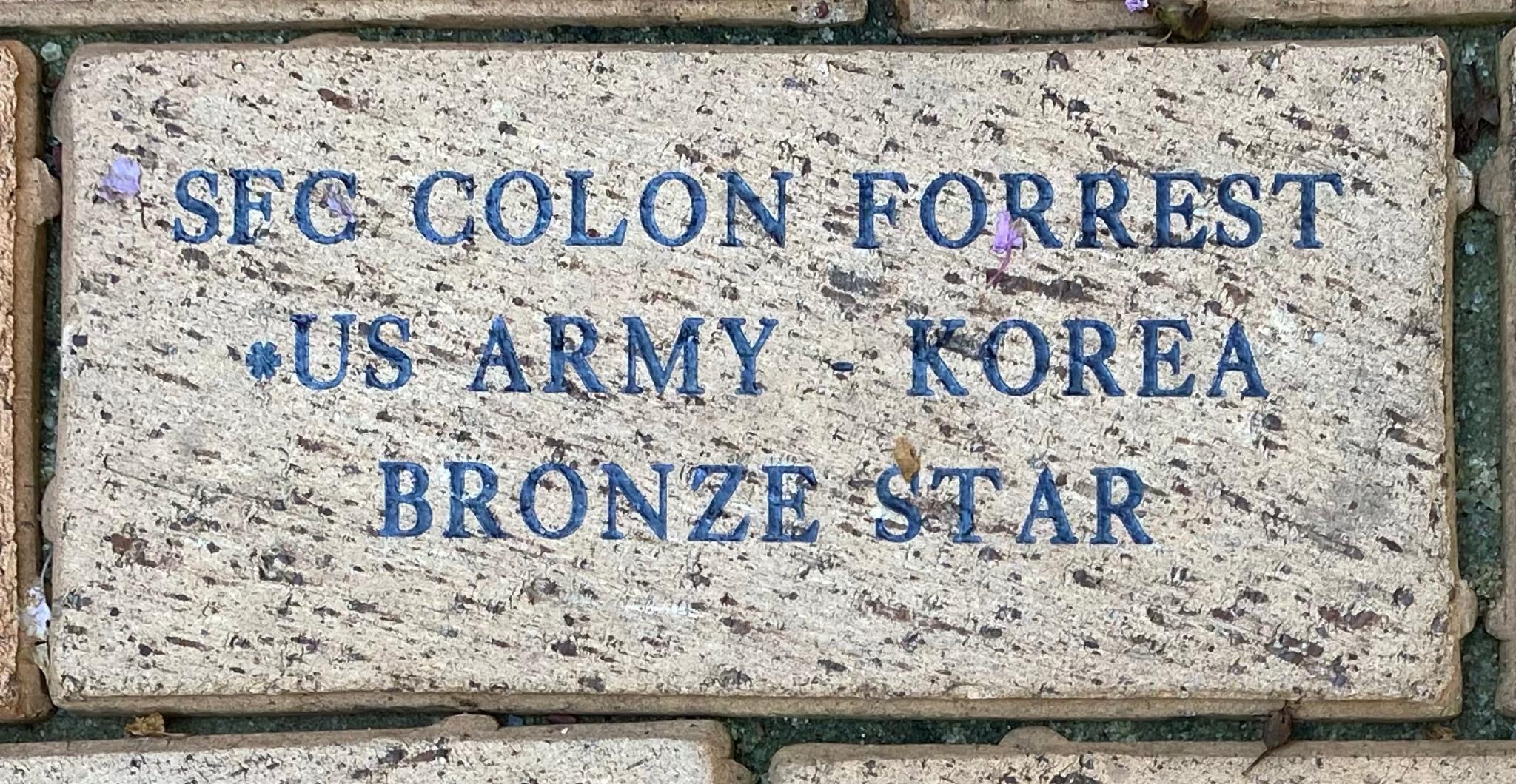 SFC COLON FORREST US ARMY – KOREA BRONZE STAR