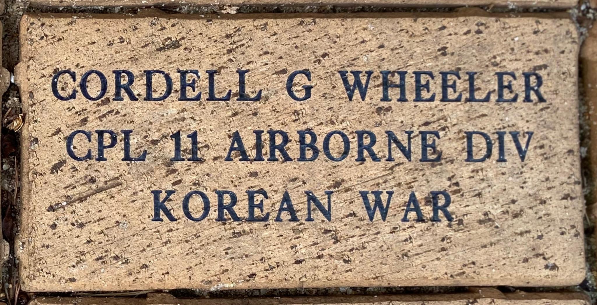 CORDELL G WHEELER CPL 11 AIRBORNE DIV KOREAN WAR