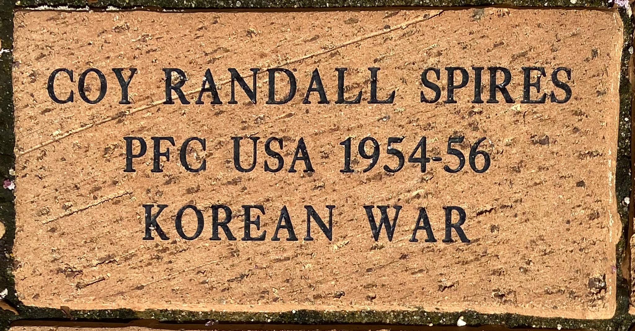 COY RANDALL SPIRES PFC USA 1954-56 KOREAN WAR