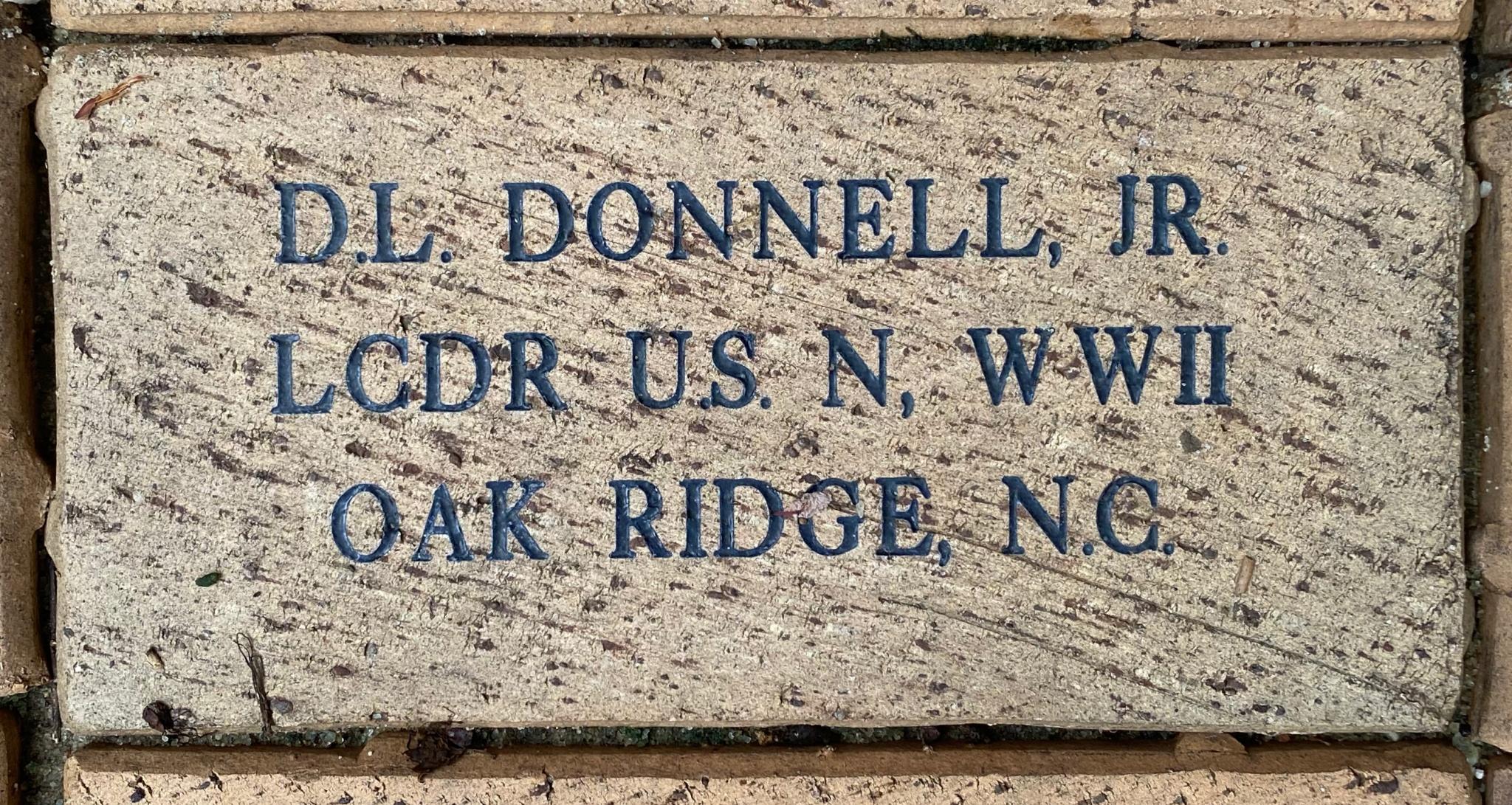 D.L. DONNELL, JR LCDR U.S.N. WWII OAK RIDGE, N.C.