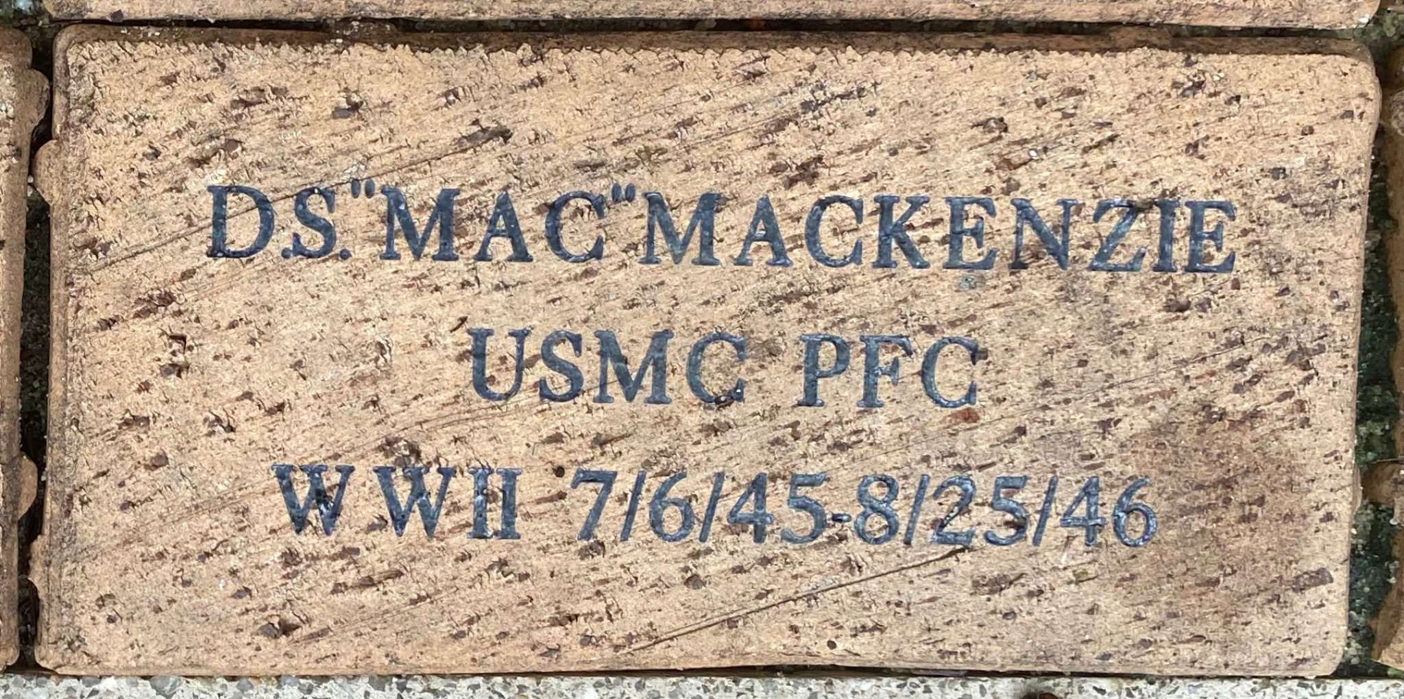 """D.S.""""""""MAC""""""""MACKENZIE USMC PFC WWII 7/6/45-8/25/46"""