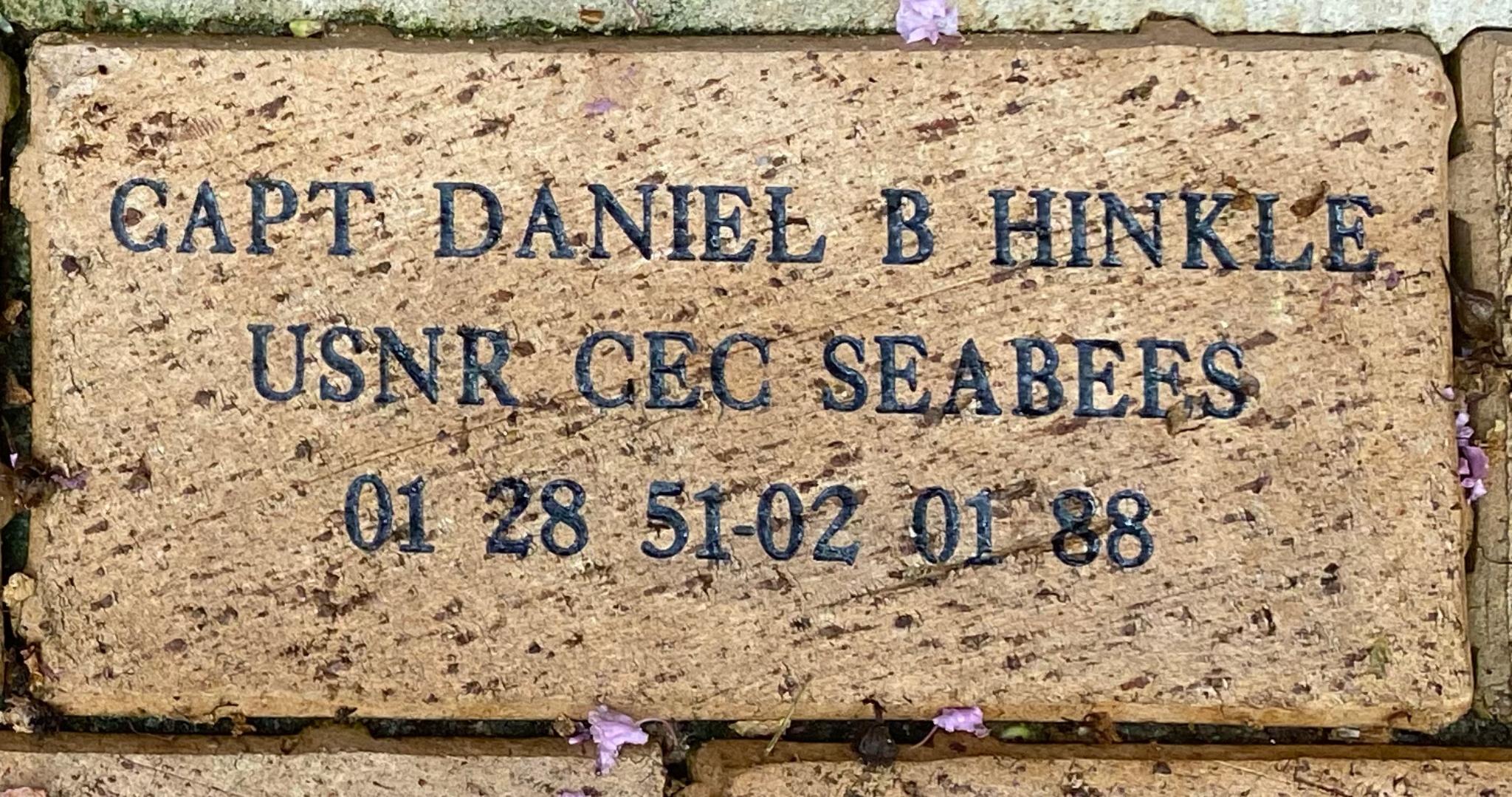CAPT DANIEL B HINKLE USNR CEC SEABEES 01 28 51-02 01 88