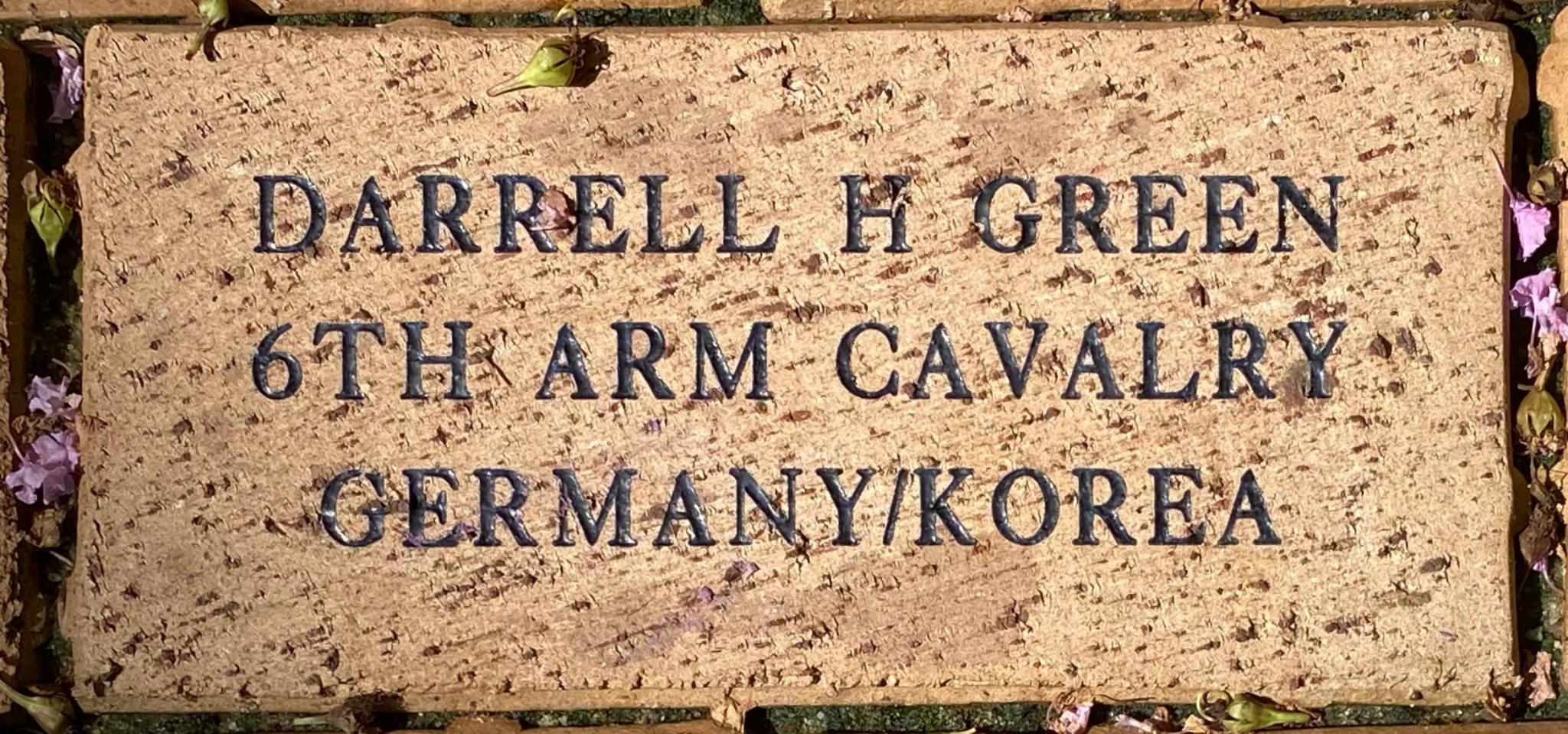 DARRELL H GREEN 6TH ARM CALVARY GERMANY/ KOREA