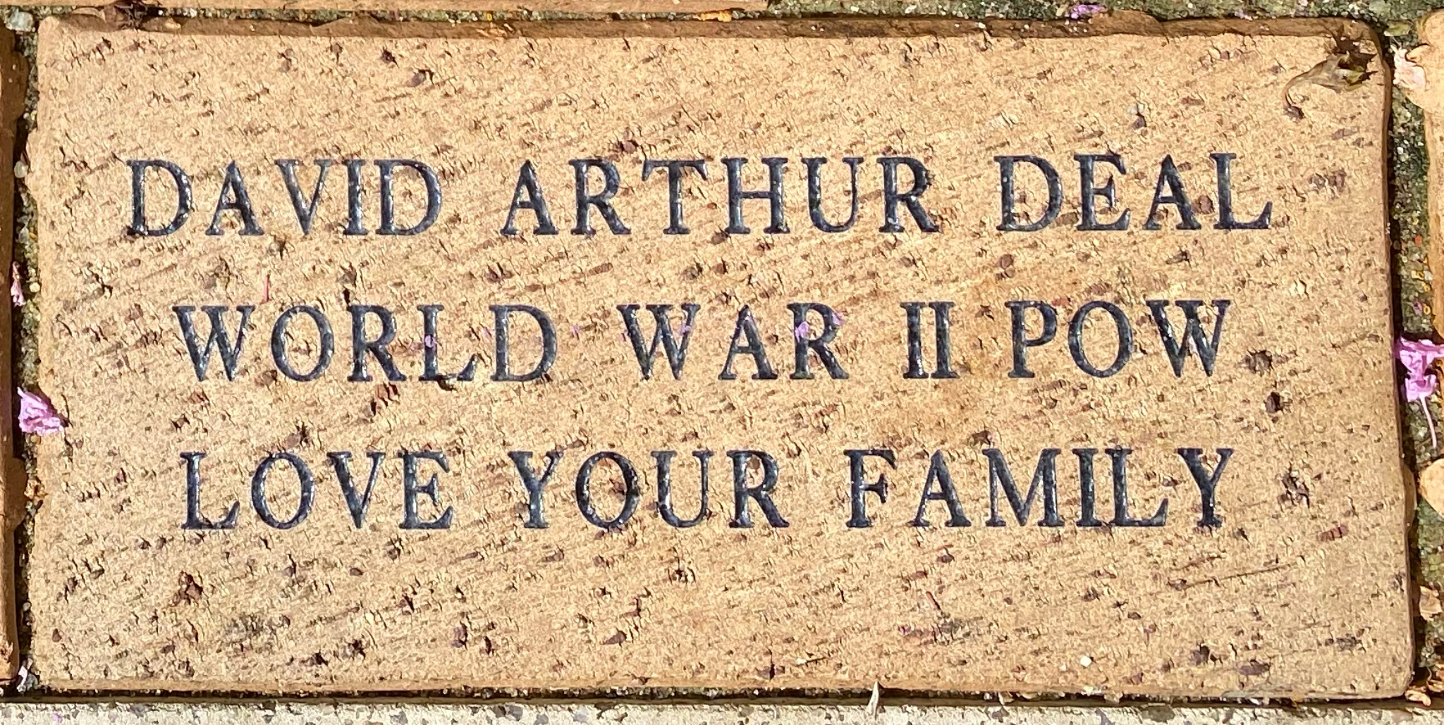 DAVID ARTHUR DEAL WORLD WAR II POW LOVE YOUR FAMILY