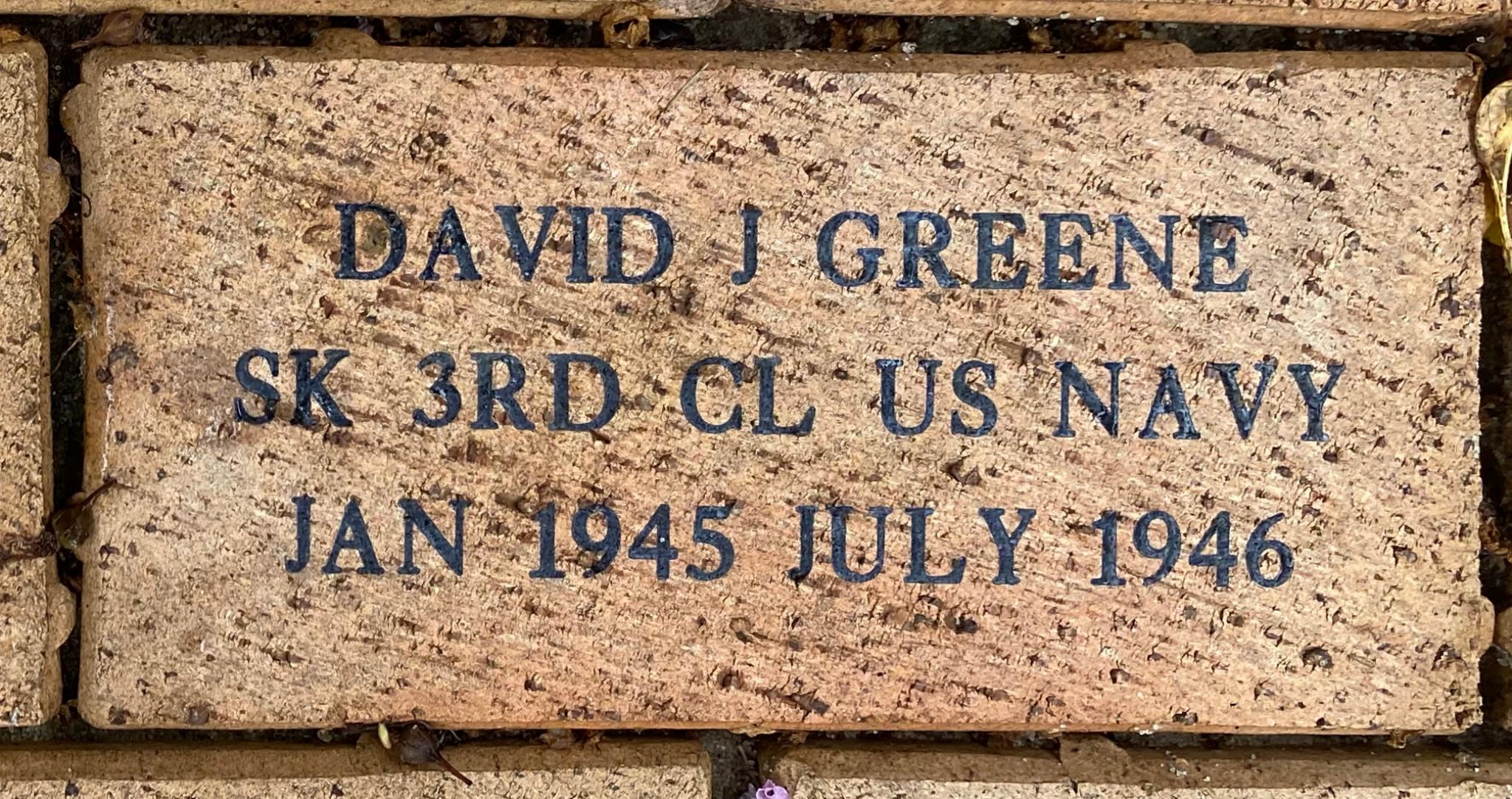 DAVID J GREENE SK 3RD CL US NAVY JAN 1945JULY 1946