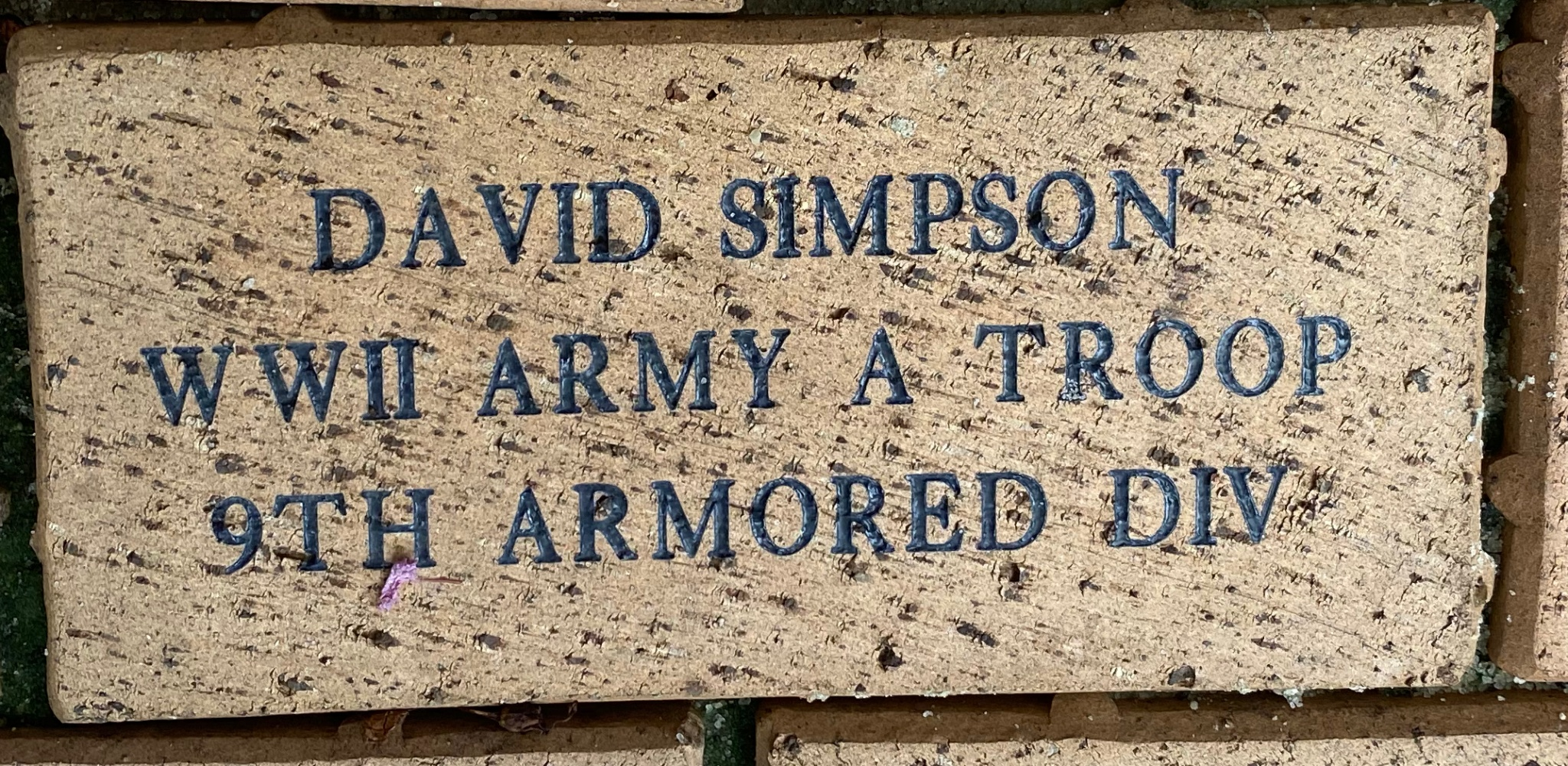 DAVID SIMPSON WWII ARMY A TROOP 9TH ARMORED DIV
