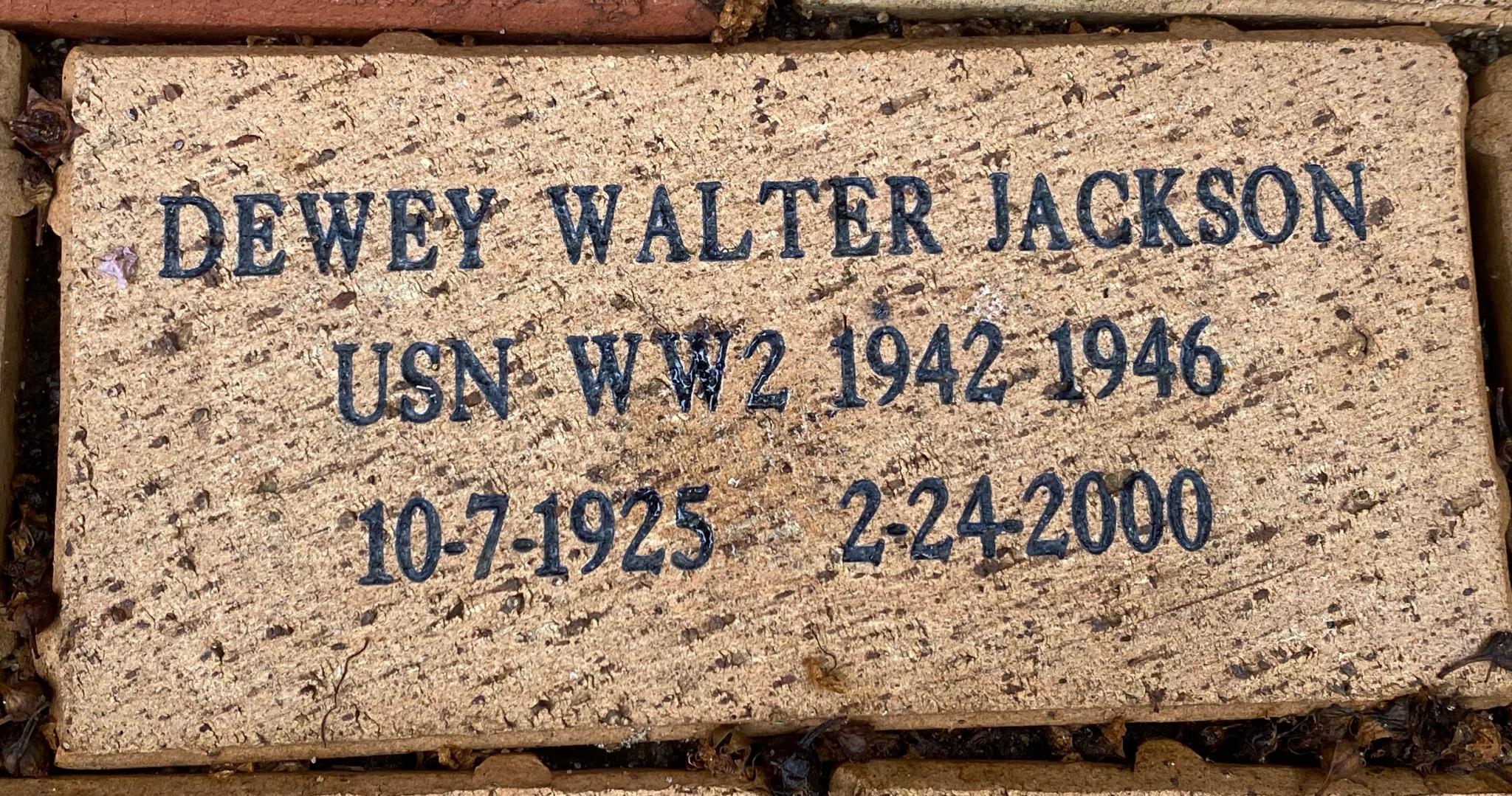 DEWEY WALTER JACKSON USN WW2 1942 1946 10-7-1925 2-24-2000