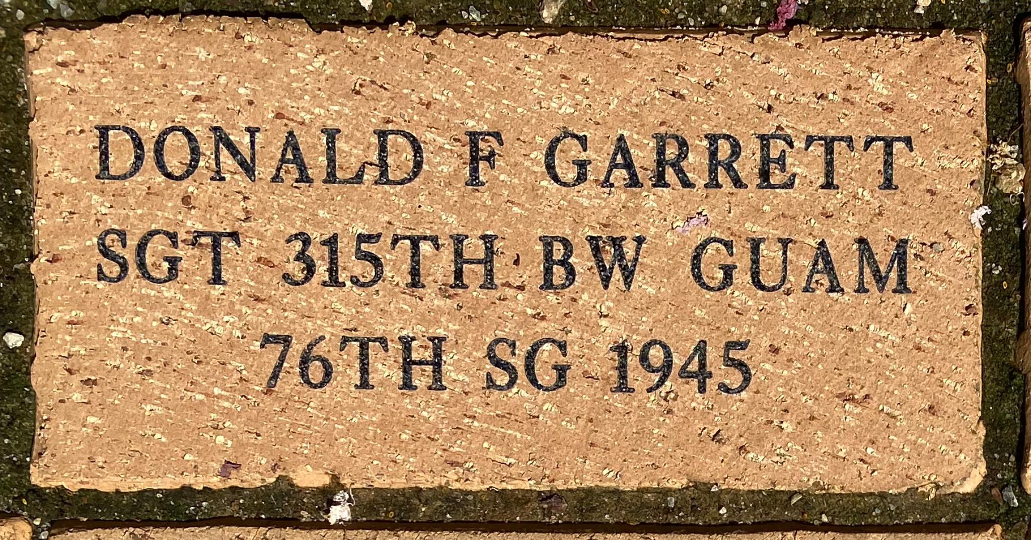 DONALD F GARRETT SGT 315TH BW GUAM 76TH SG 1945