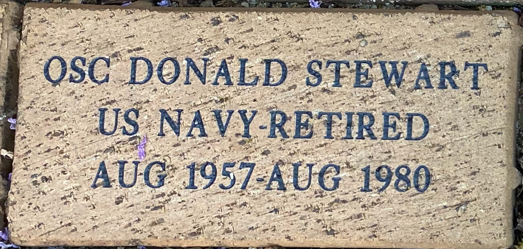 OSC DONALD STEWART US NAVY-RTIRED AUG 1957-AUG 1980