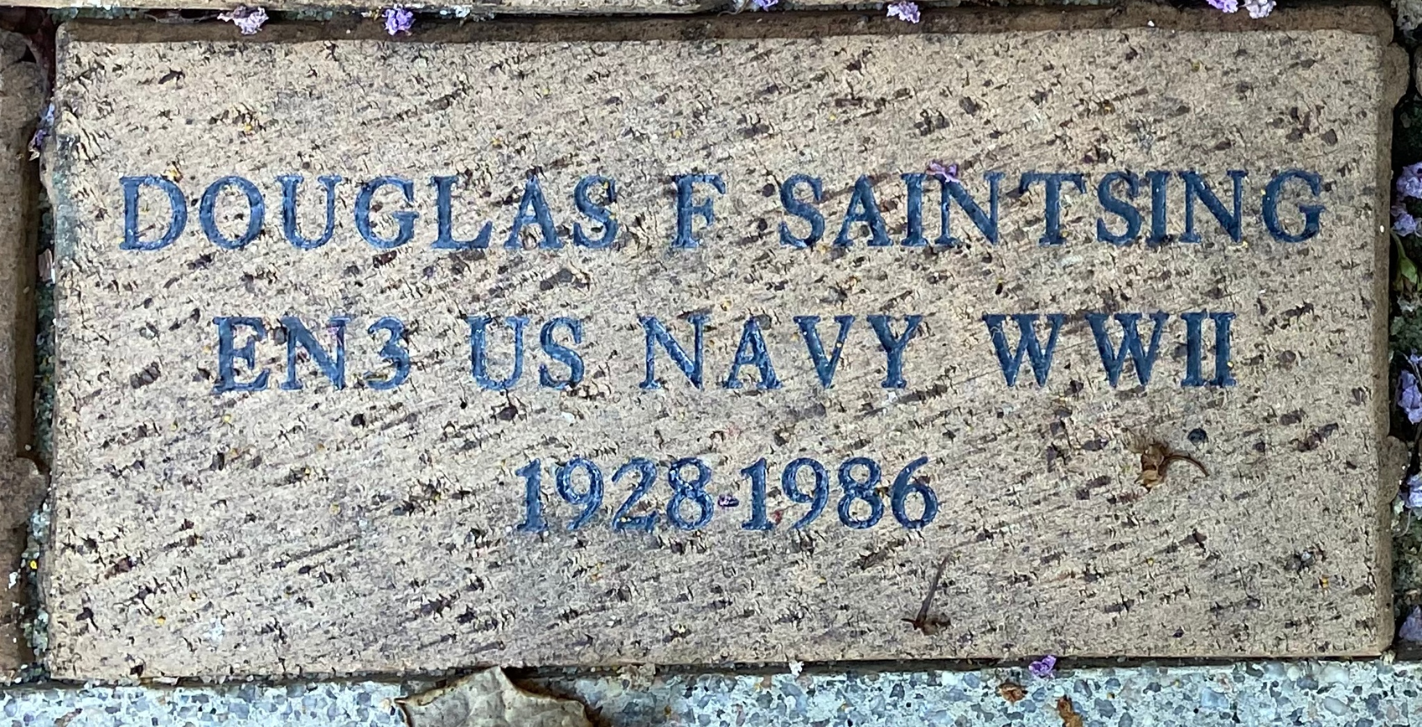DOUGLAS F. SAINTSING EN3 US NAVY WWII 1928-1986