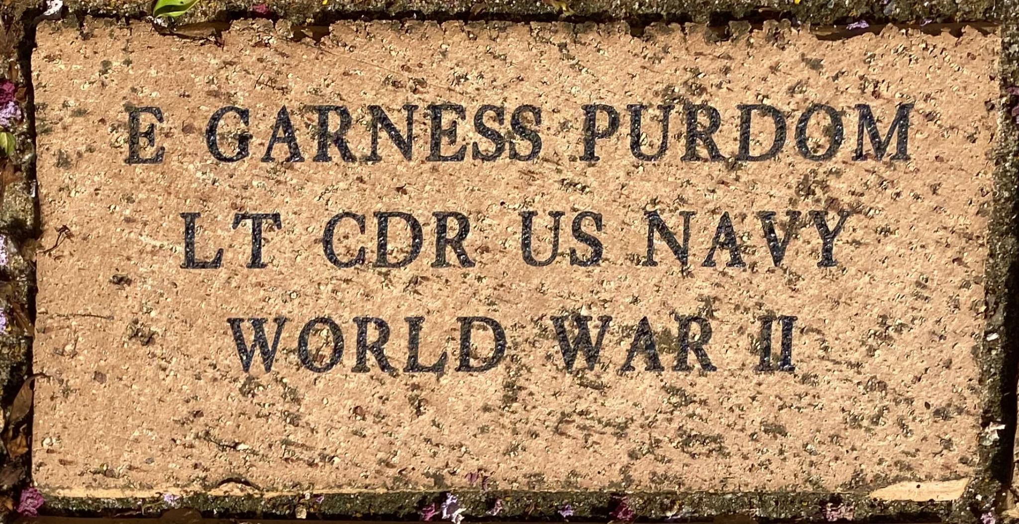 E GARNESS PURDOM LT CDR US NAVY WORLD WAR II