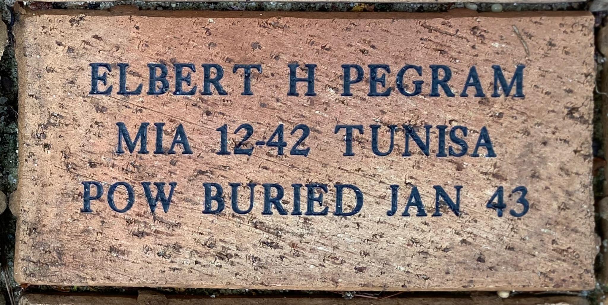 ELBERT H PEGRAM MIA 12-42 TUNSIA POW BURIED JAN 43