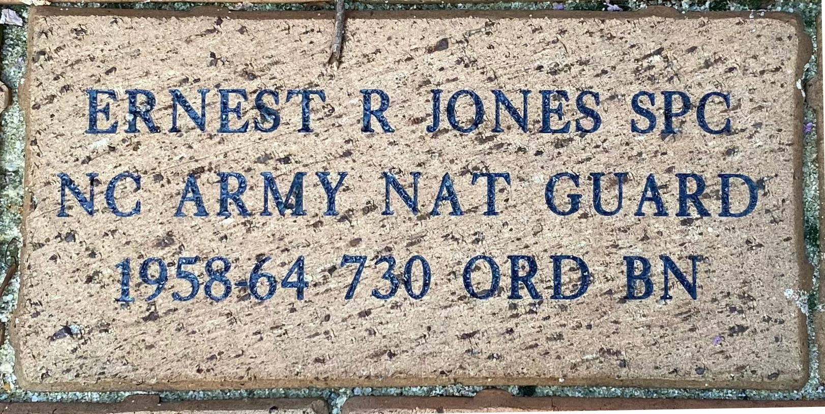ERNEST R JONES SPC NC ARMY NAT GUARD 1958-64 730 ORD BN