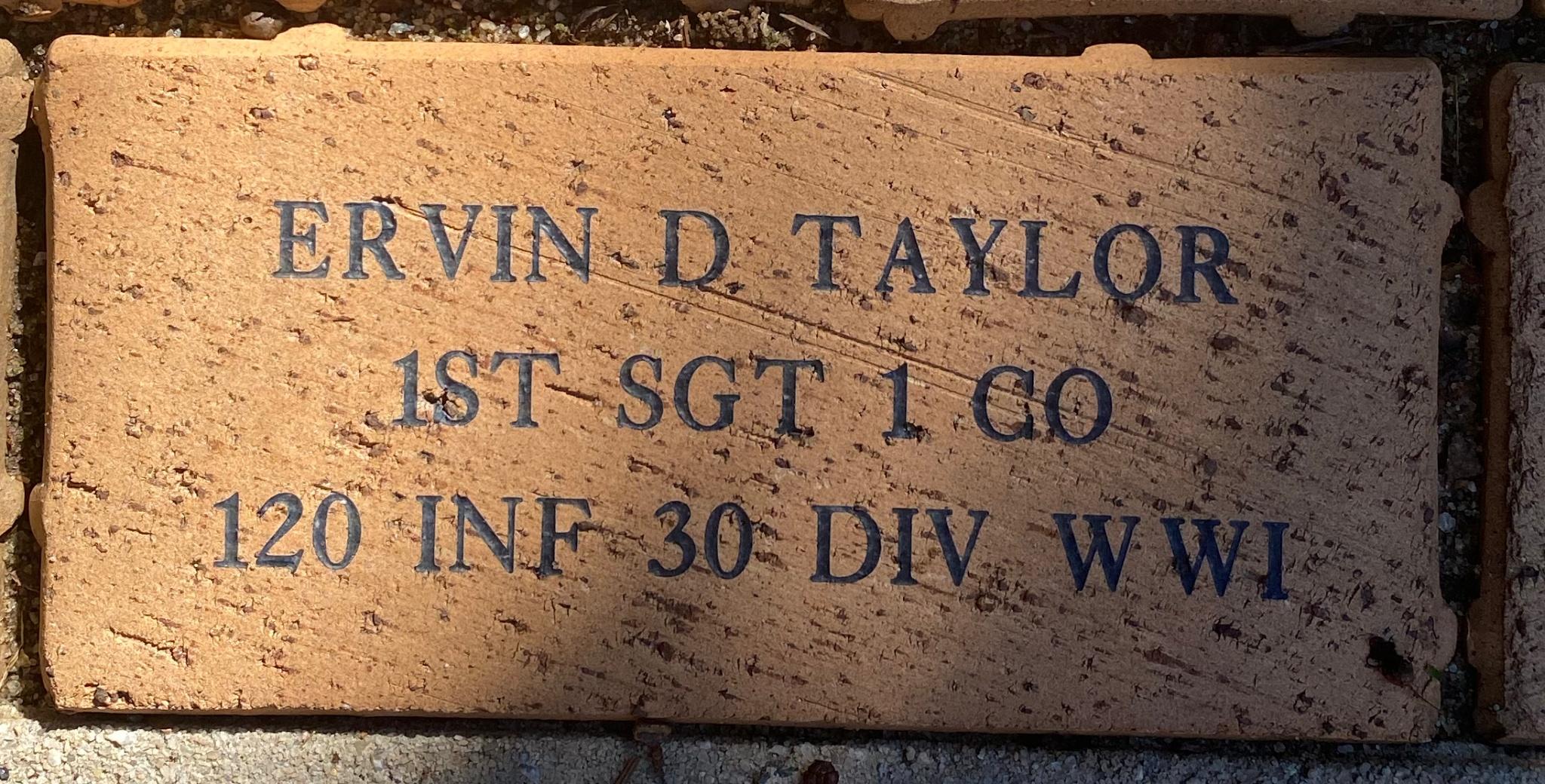 ERVIN D TAYLOR 1ST SGT I CO 120 INF 30 DIV WWI
