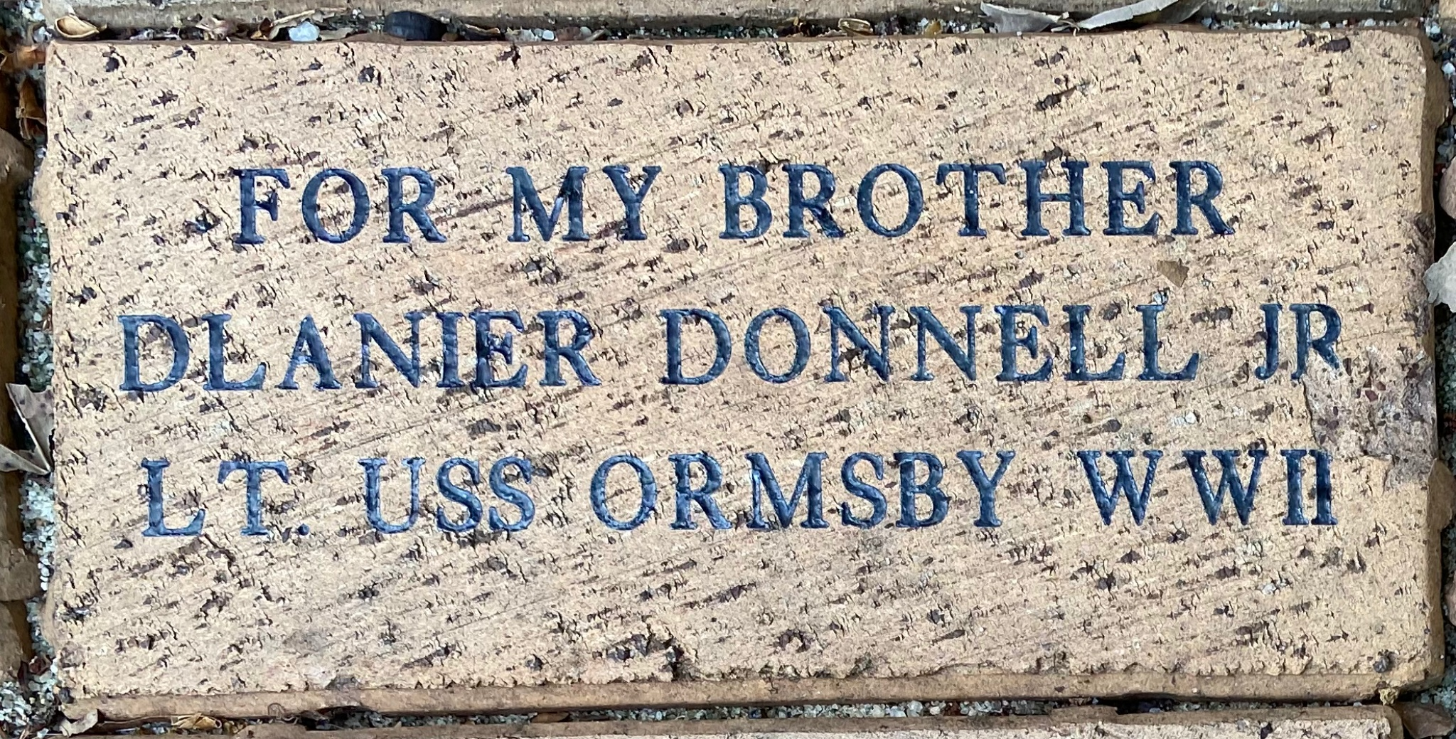 FOR MY BROTHER D. LANIER DONNELL JR LT. USS ORMSBY WWII