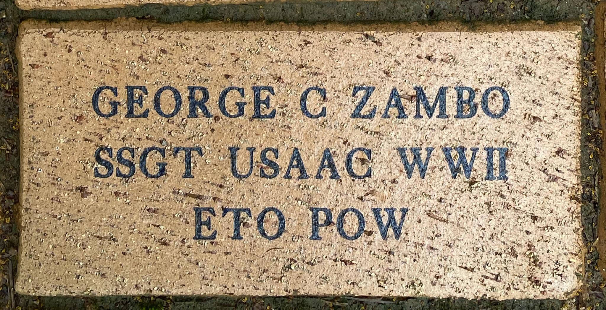 GEORGE C ZAMBO SSGT USAAC WWII ETO POW