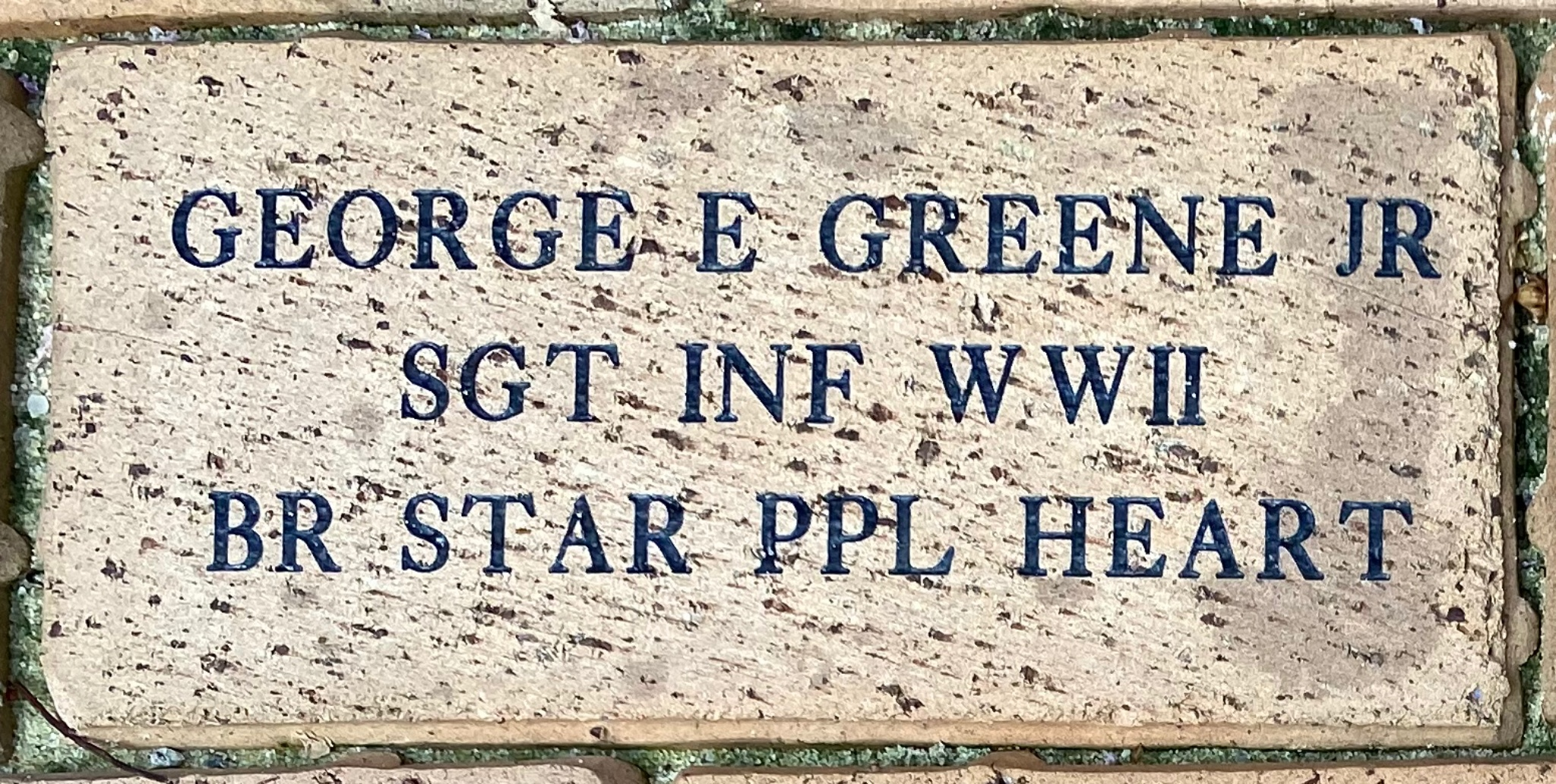 GEORGE E GREENE JR SGT INF WWII BR STAR PPL HEART