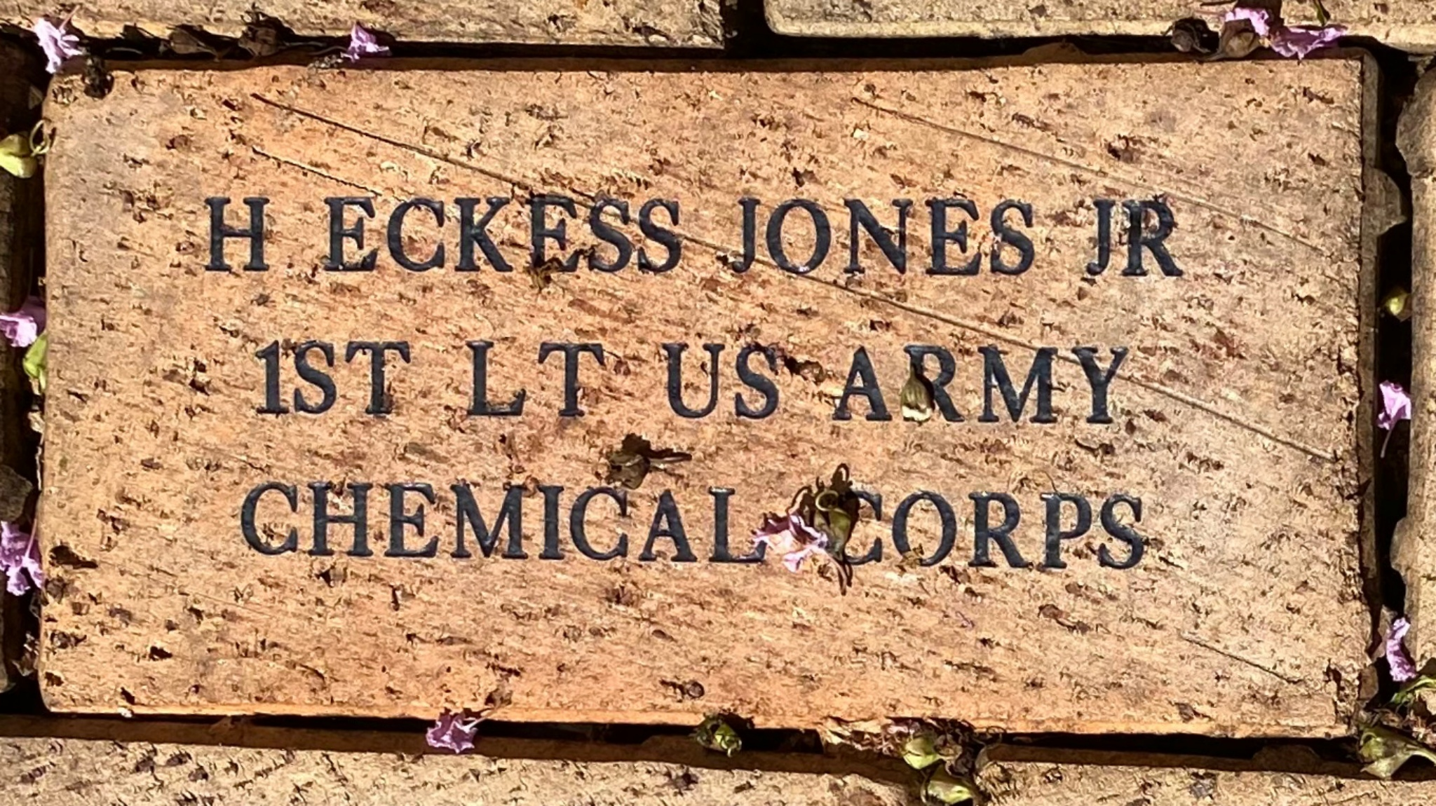 H ECKESS JONES JR 1ST LT US ARMY CHEMICAL CORPS