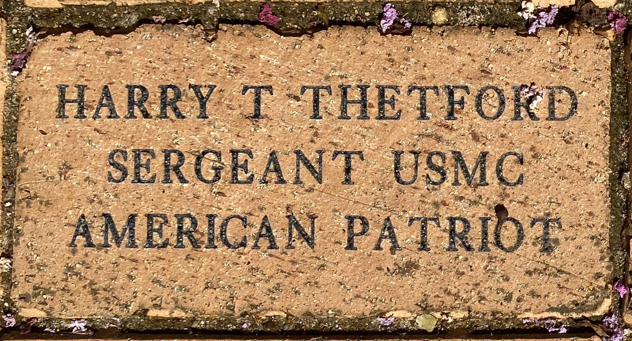 HARRY T THETFORD SERGEANT USMC AMERICAN PATRIOT