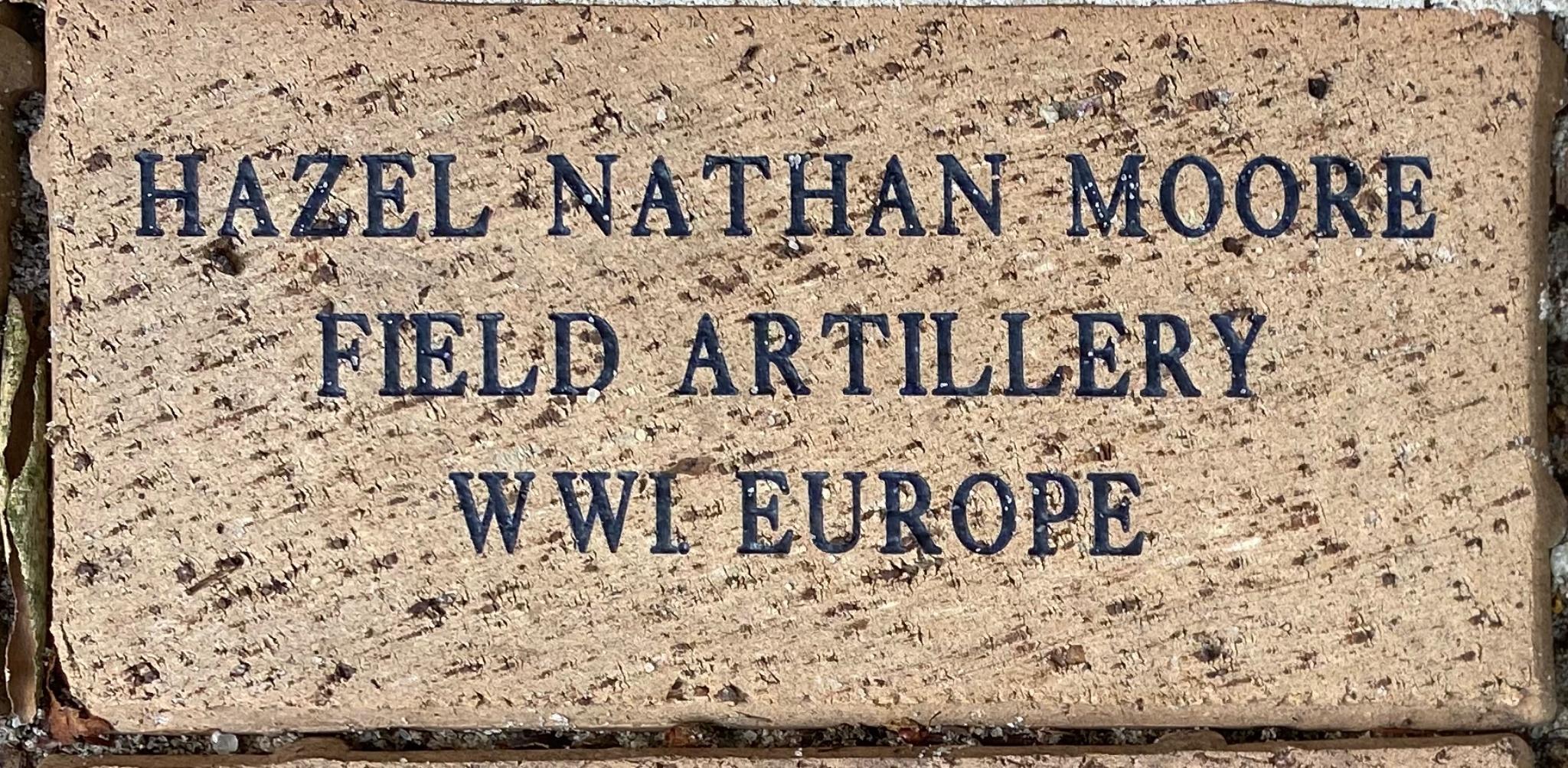HAZEL NATHAN MOORE FIELD ARTILLERY WWI EUROPE
