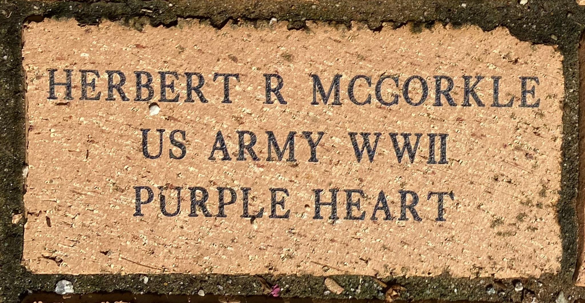 HERBERT R MCCORKLE US ARMY WWII PURPLE HEART