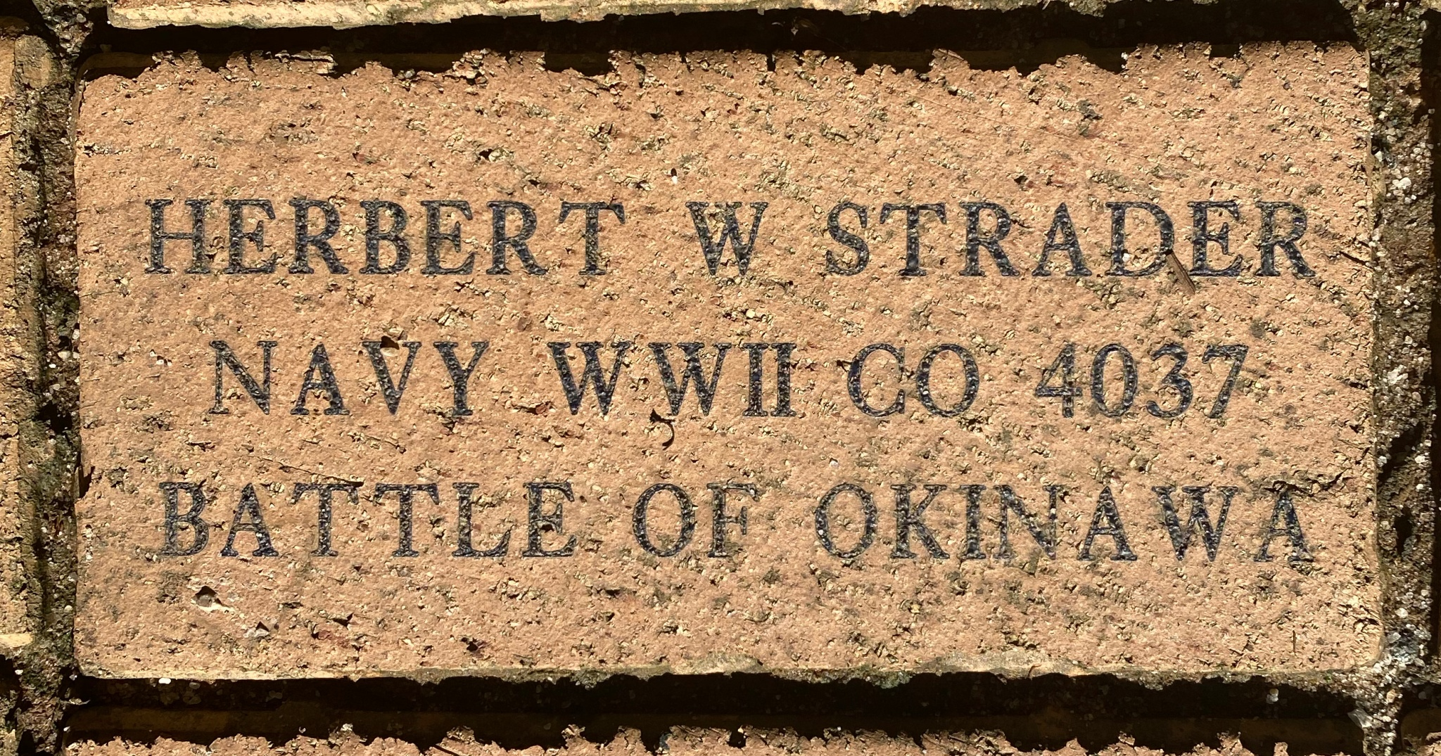 HERBERT W STRADER NAVY WWII CO 4037 BATTLE OF OKINAWA