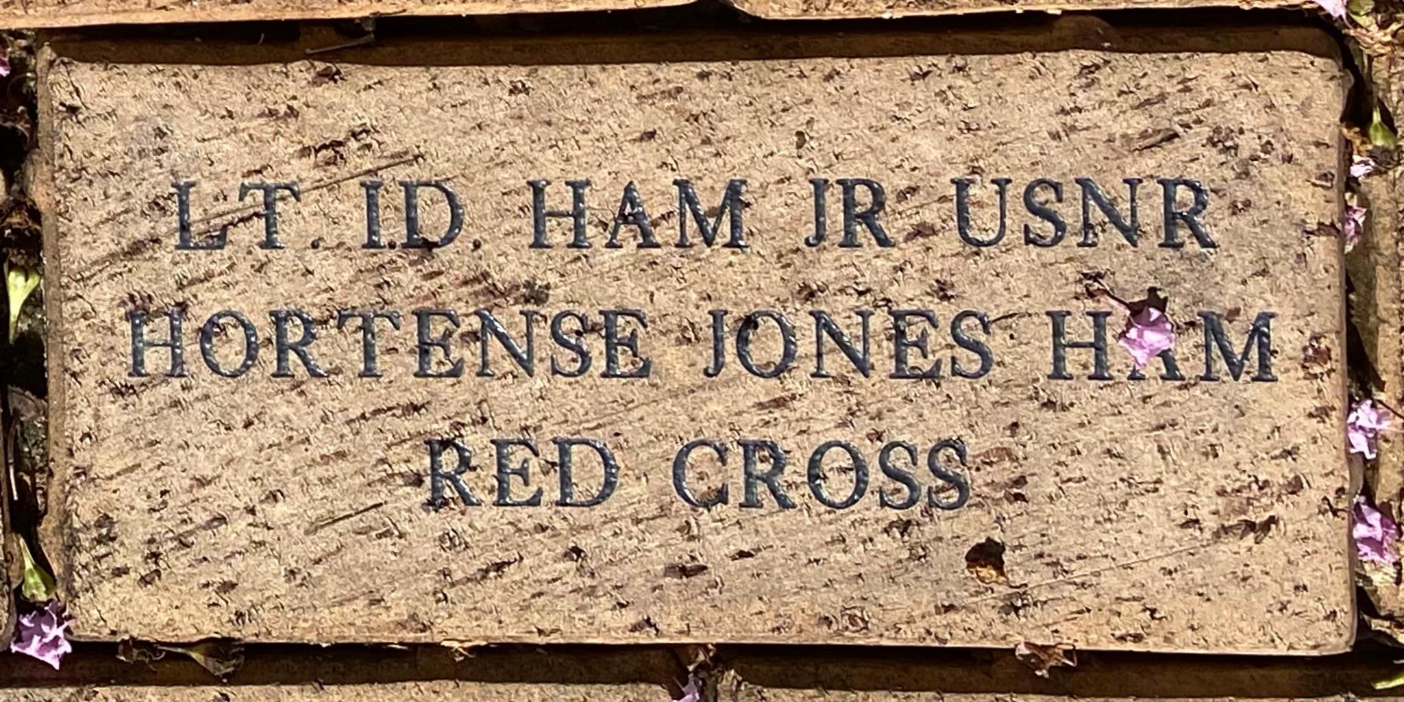 LT. I.D. HAM JR USNR HORTENSE JONES HAM RED CROSS