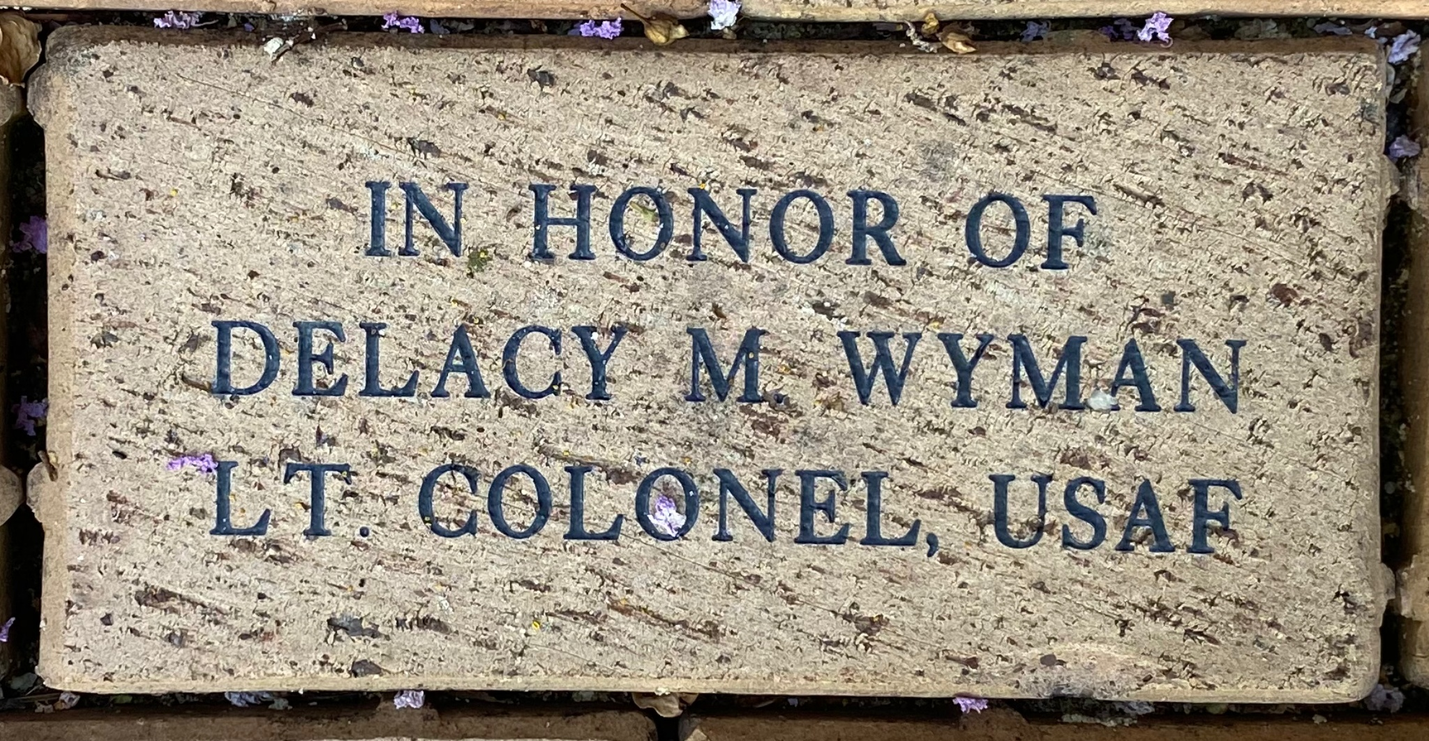 IN HONOR OF  DELACY M. WYMAN LT. COLONEL, USAF