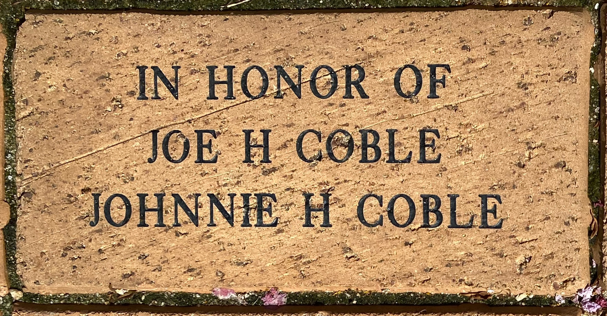 IN HONOR OF JOE H COBLE JOHNNIE H COBLE