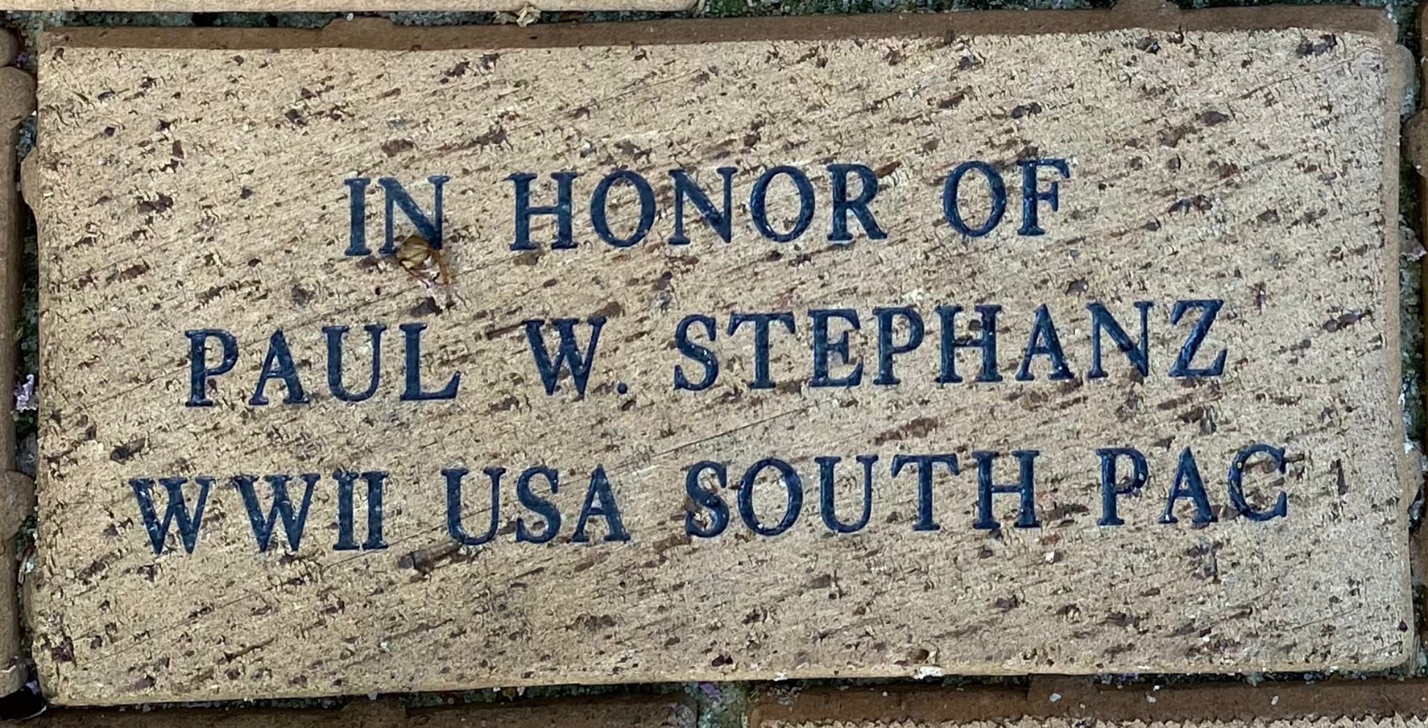 IN HONOR OF  PAUL W. STEPHANZ WWII USA SOUTH PAC